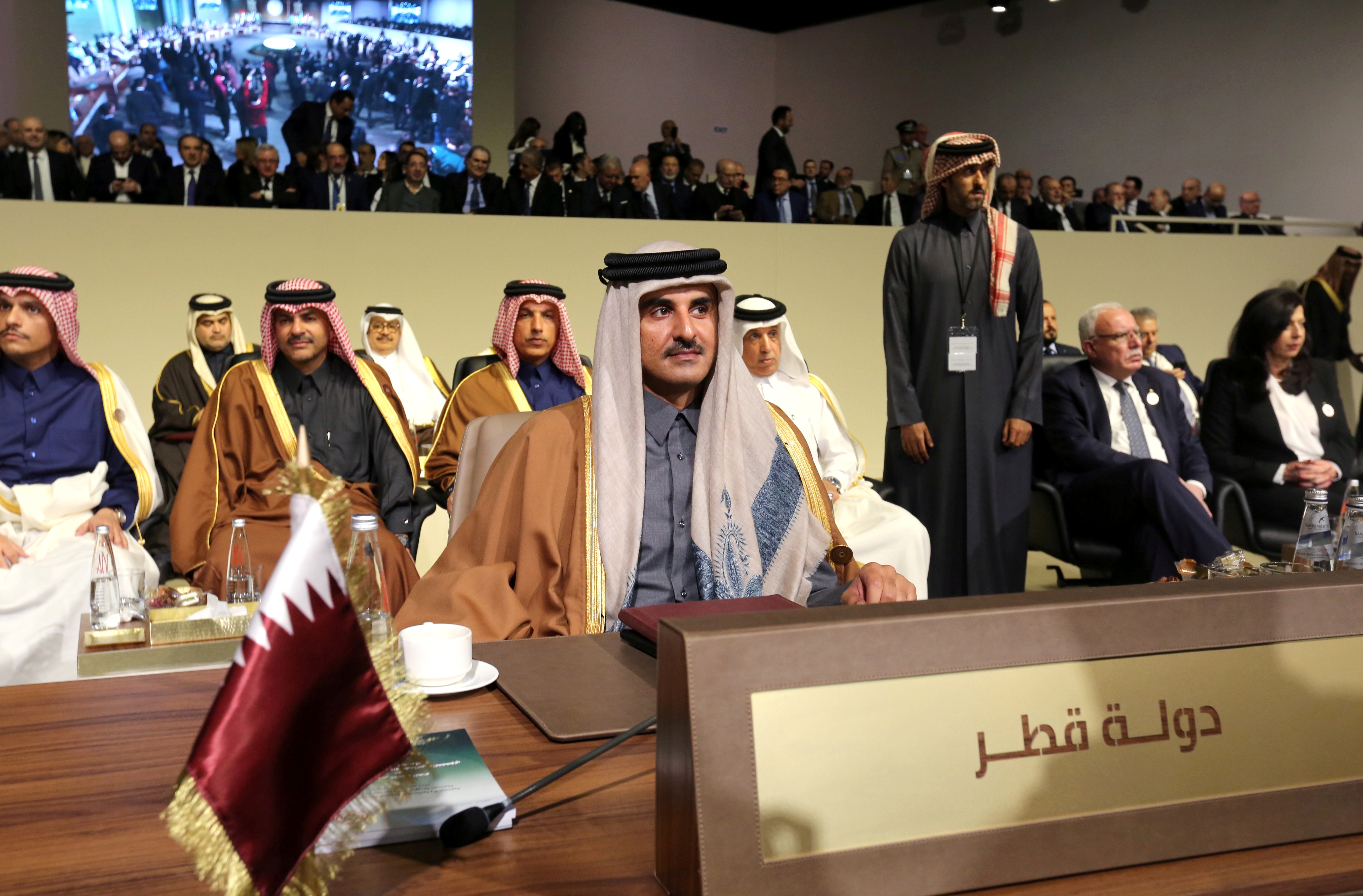 FILE PHOTO: Emir of Qatar Sheikh Tamim bin Hamad bin Khalifa Al-Thani attends the Arab Economic and Social Development summit meeting in Beirut, Lebanon January 20, 2019. REUTERS/Aziz Taher/File Photo