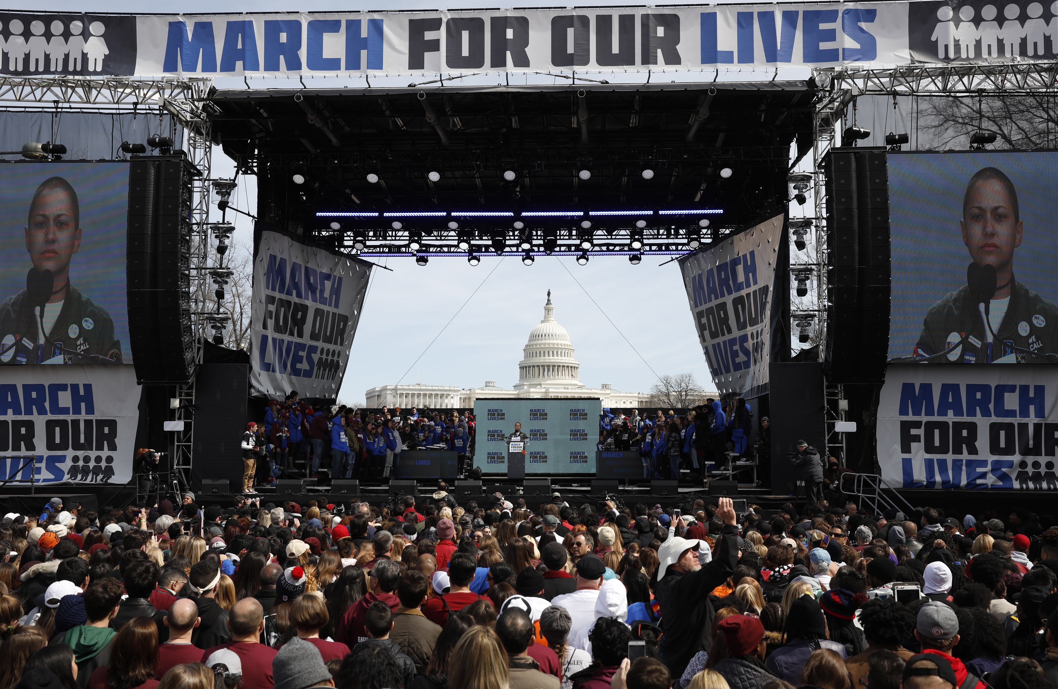 "Emma Gonzalez, a student and shooting survivor from the Marjory Stoneman Douglas High School in Parkland, Florida, addresses the conclusion of the ""March for Our Lives"" event demanding gun control at a rally in Washington, U.S., March 24, 2018. REUTERS/Aaron P. Bernstein"