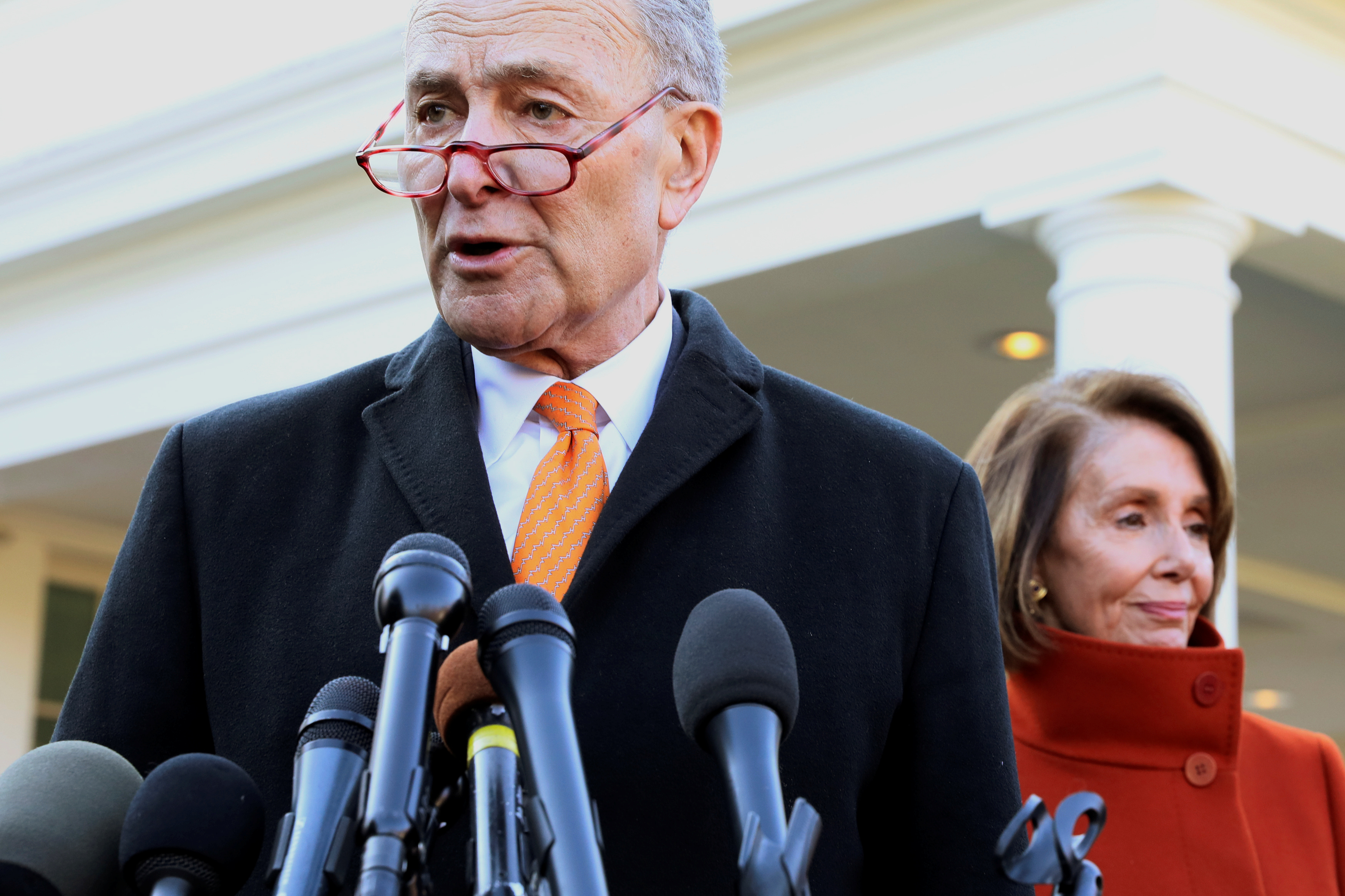 U.S. Senate Minority Leader Schumer and House Speaker designate Pelosi speak to reporters after meeting with President Trump at the White House in Washington
