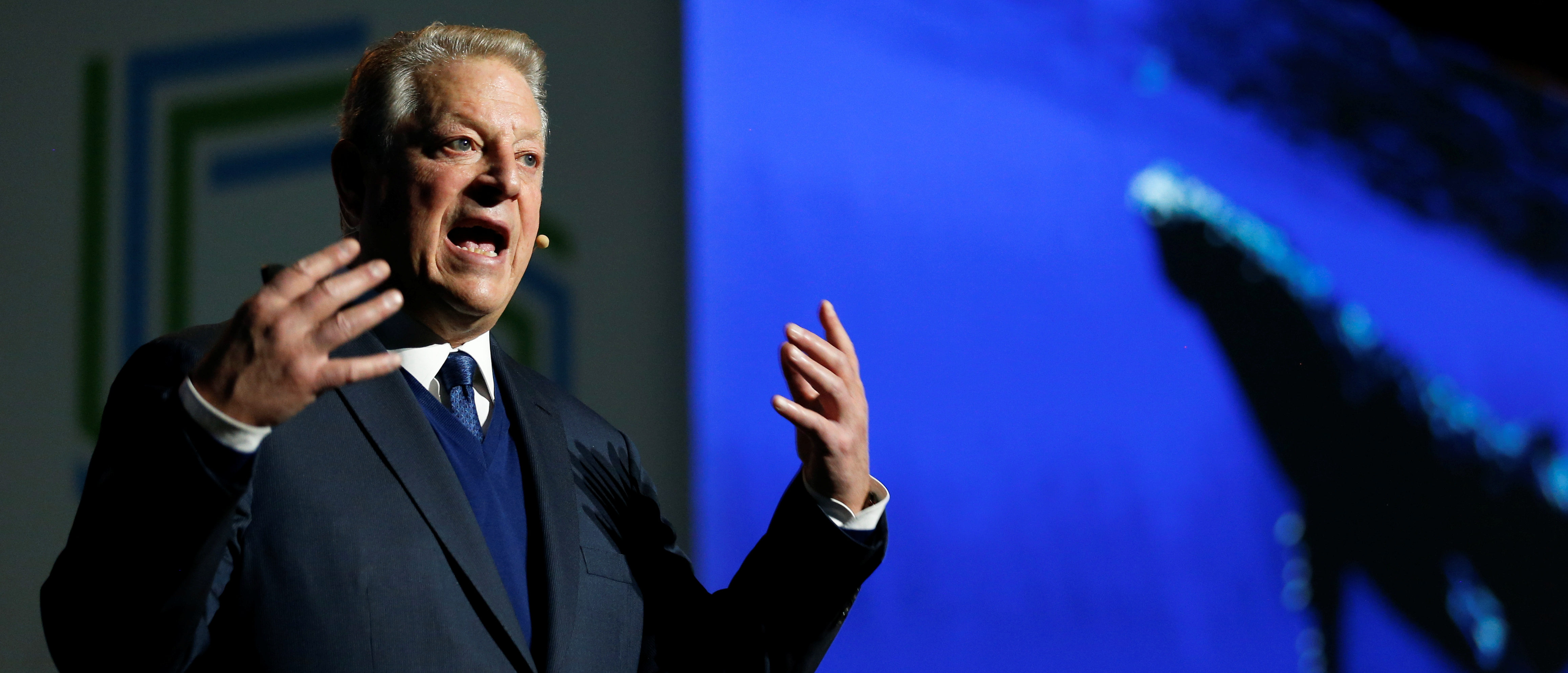Al Gore, former U.S. Vice President and Climate Reality Project Chairman, gestures as he speaks at the COP24 UN Climate Change Conference 2018 in Katowice, Poland December 12, 2018. Agencja Gazeta/Grzegorz Celejewski/via REUTERS.