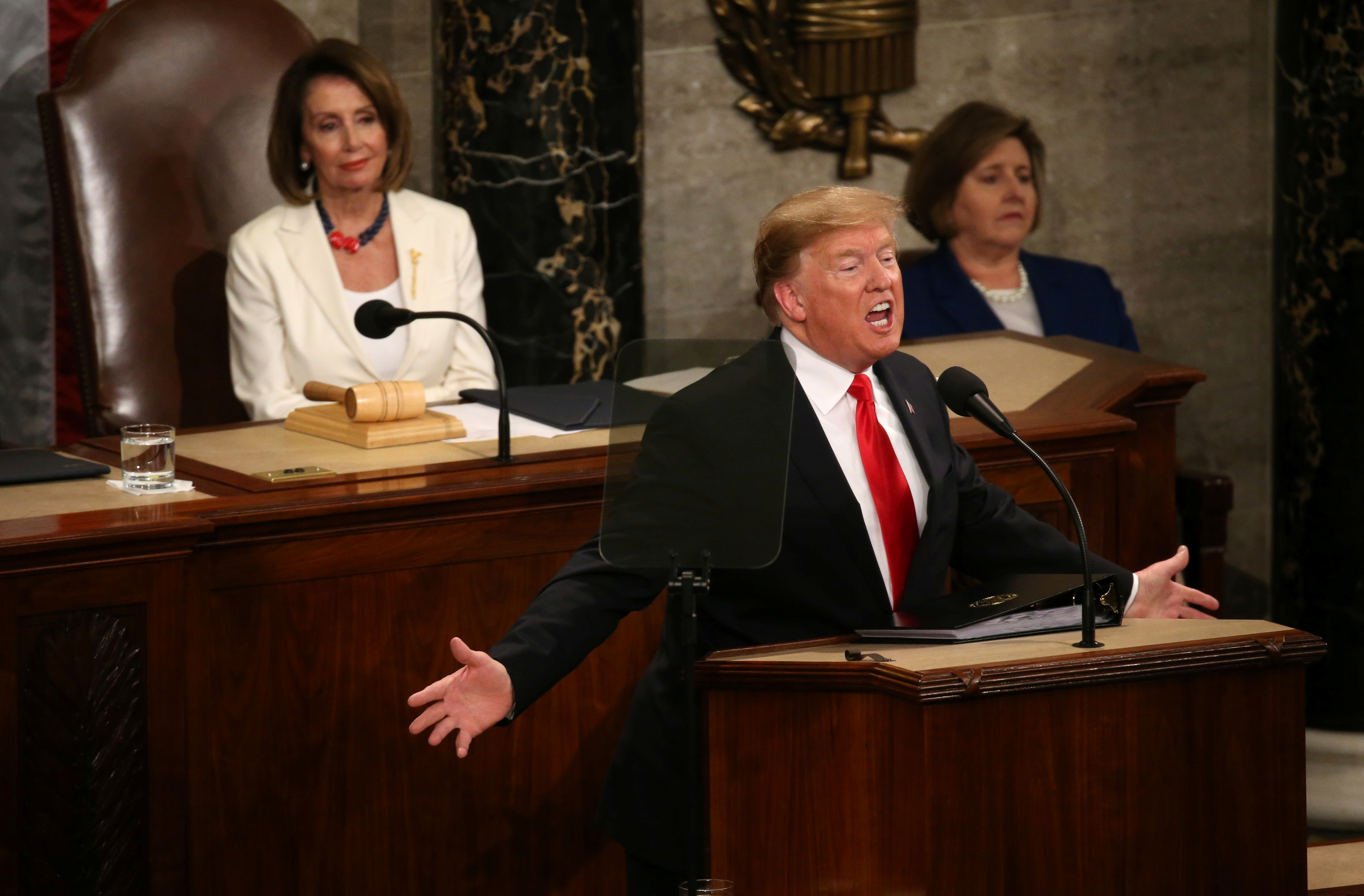 Speaker of the House Nancy Pelosi (D-CA) watches as U.S. President Donald Trump delivers his second State of the Union address to a joint session of the U.S. Congress in the House Chamber of the U.S. Capitol on Capitol Hill in Washington, U.S. February 5, 2019. (REUTERS/Leah Millis)