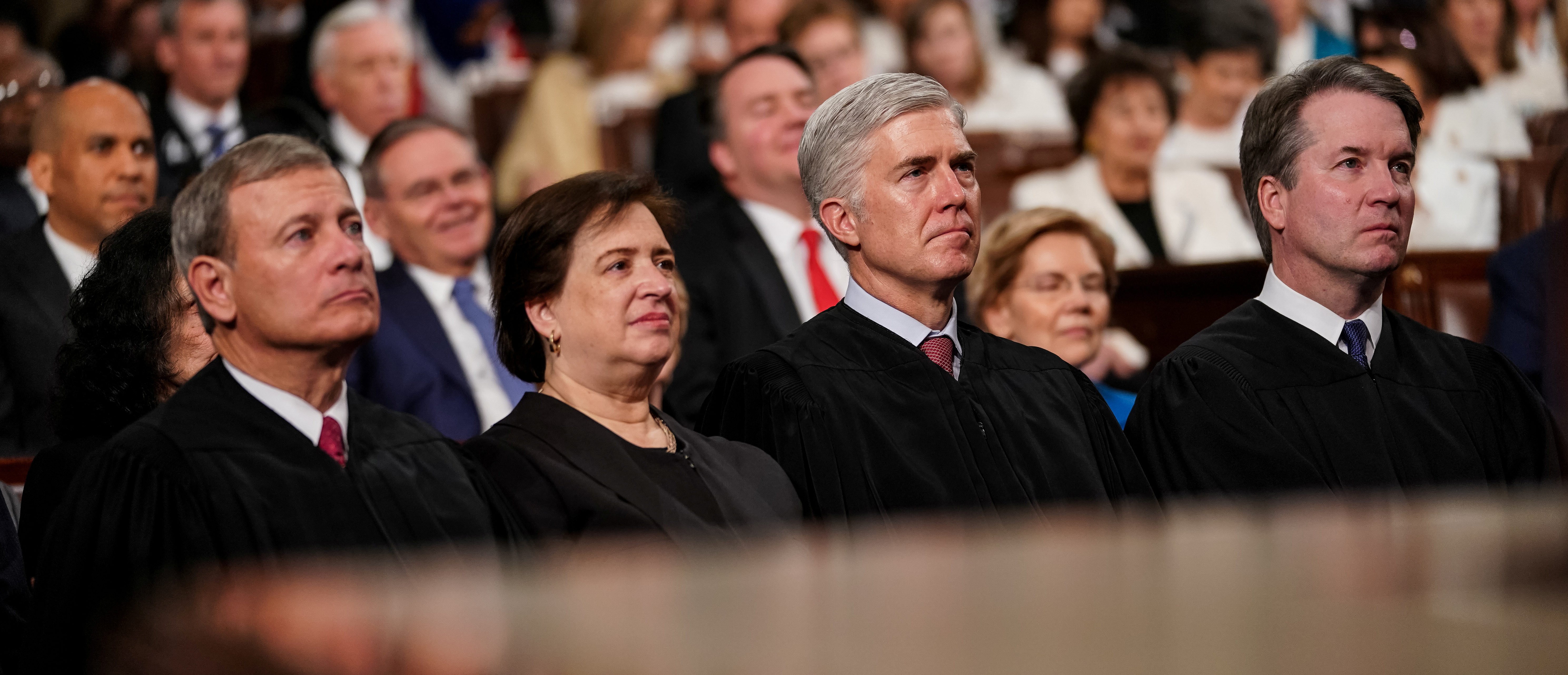 Supreme Court Justices John Roberts, Elena Kagan, Neil Gorsuch and Brett Kavanaugh during the State of the Union address at the Capitol in Washington, DC on February 5, 2019. Doug Mills/Pool via REUTERS.