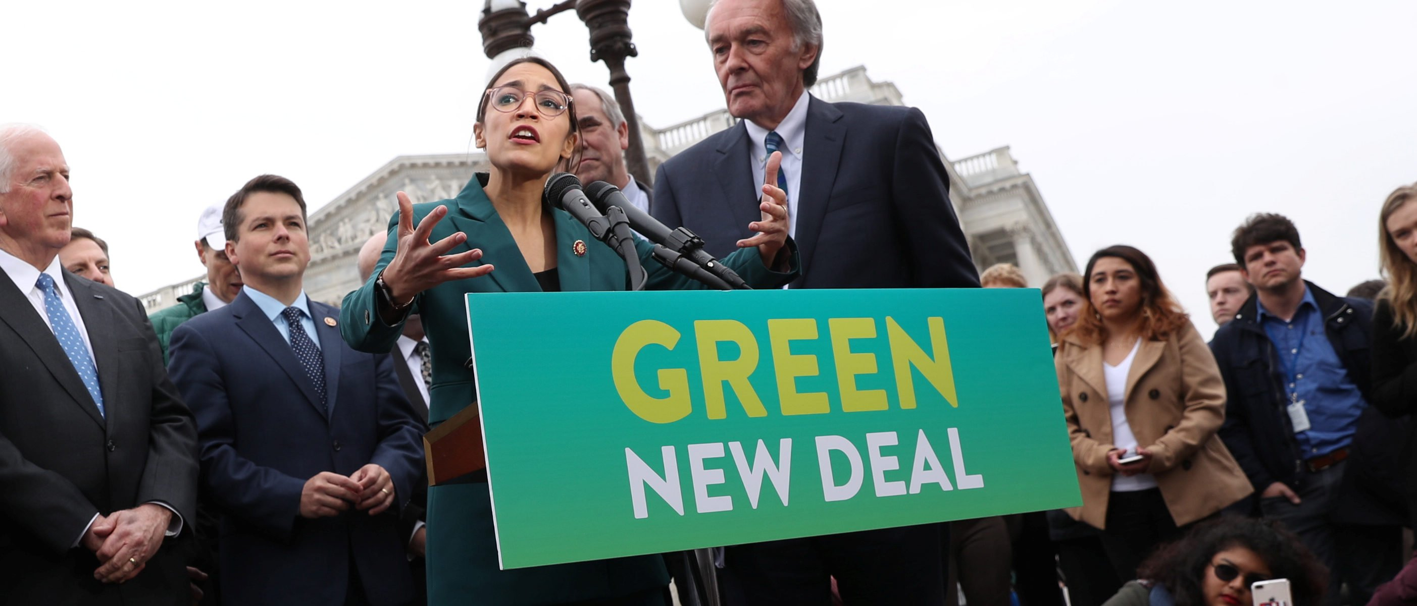 "U.S. Representative Alexandria Ocasio-Cortez (D-NY) and Senator Ed Markey (D-MA) hold a news conference for their proposed ""Green New Deal"" to achieve net-zero greenhouse gas emissions in 10 years, at the U.S. Capitol in Washington, U.S. February 7, 2019. REUTERS/Jonathan Ernst"