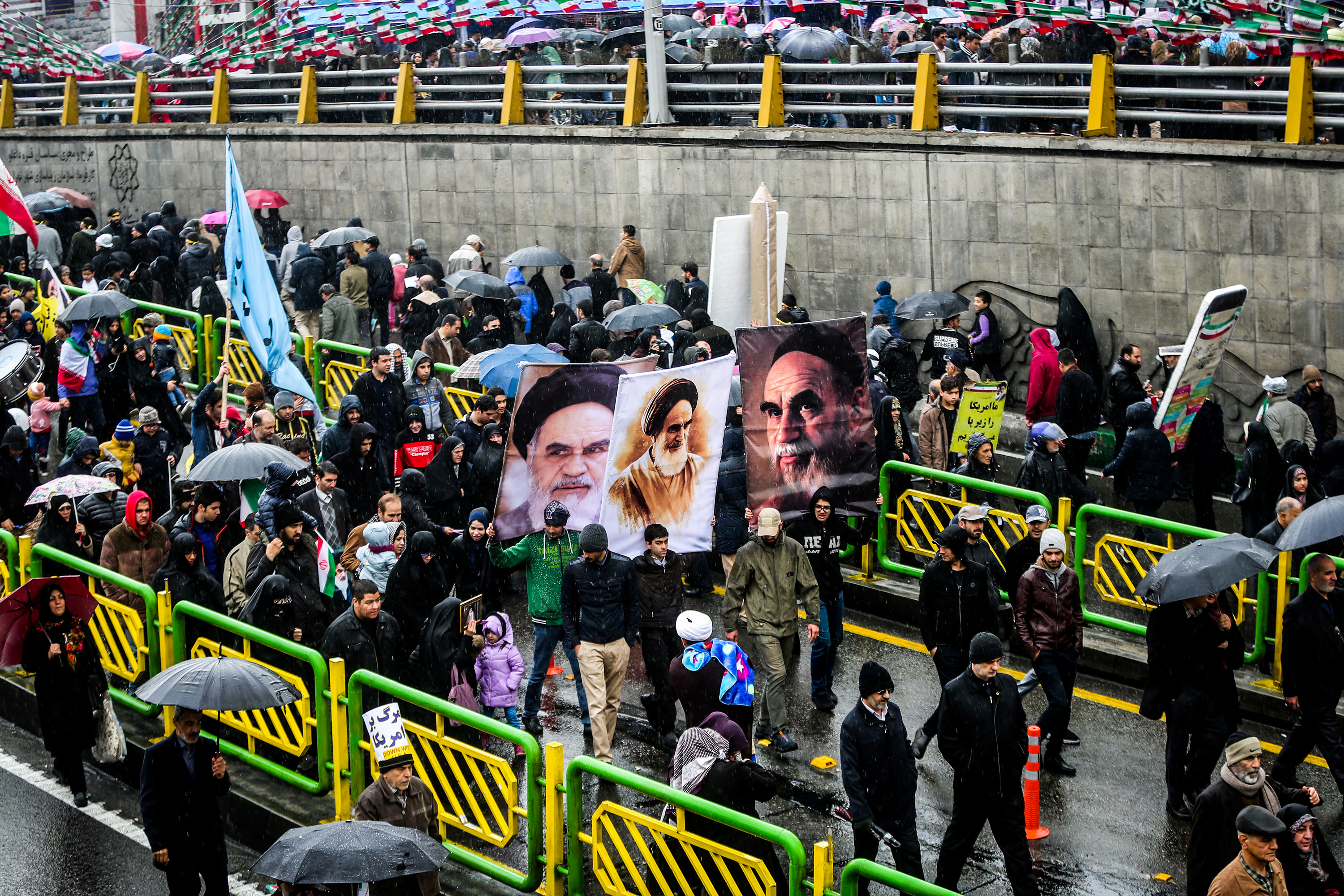 Iranian people gather during a ceremony to mark the 40th anniversary of the Islamic Revolution in Tehran, Iran February 11, 2019. Vahid Ahmadi/Tasnim News Agency/via REUTERS