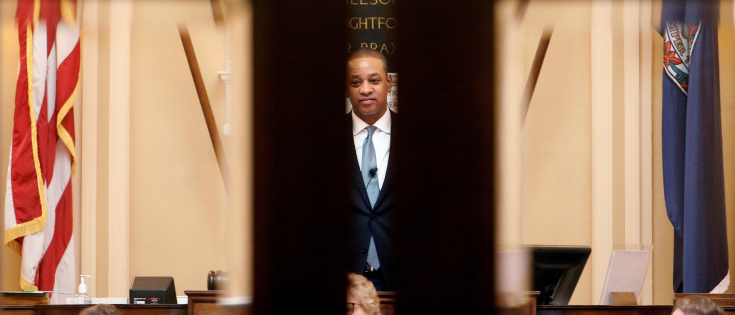 Virginia Lieutenant Governor Justin Fairfax by the doors of the state's senate Richmond, Virginia, U.S., February 11, 2019. REUTERS/Jonathan Drake