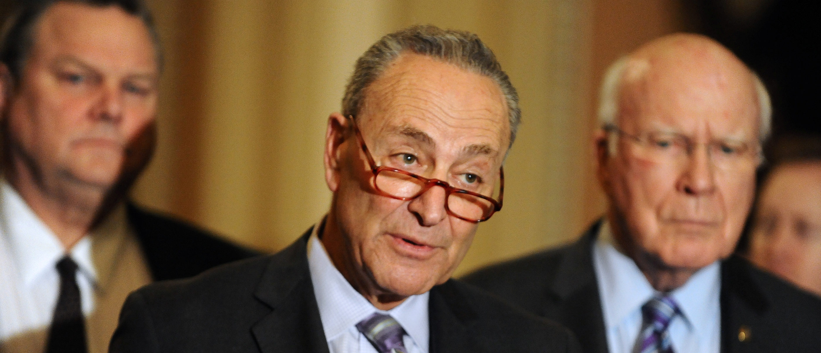 Sen. Chuck Schumer (D-NY) speaks to the media at the U.S. Capitol after a tentative deal is set to avert a second partial government shutdown in Washington, U.S., February 12, 2019. REUTERS/Mary F. Calvert.