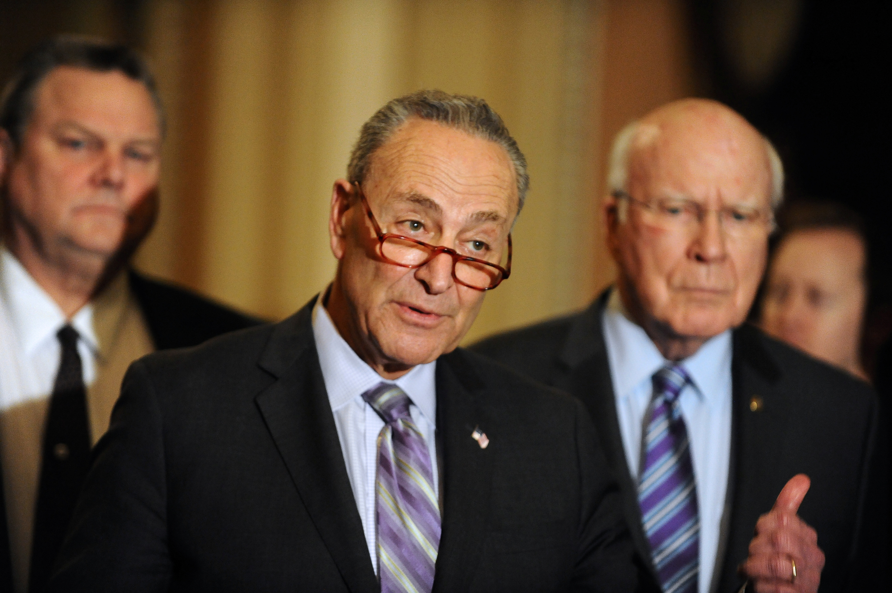 Sen. Chuck Schumer (D-NY) speaks to the media at the U.S. Capitol in Washington