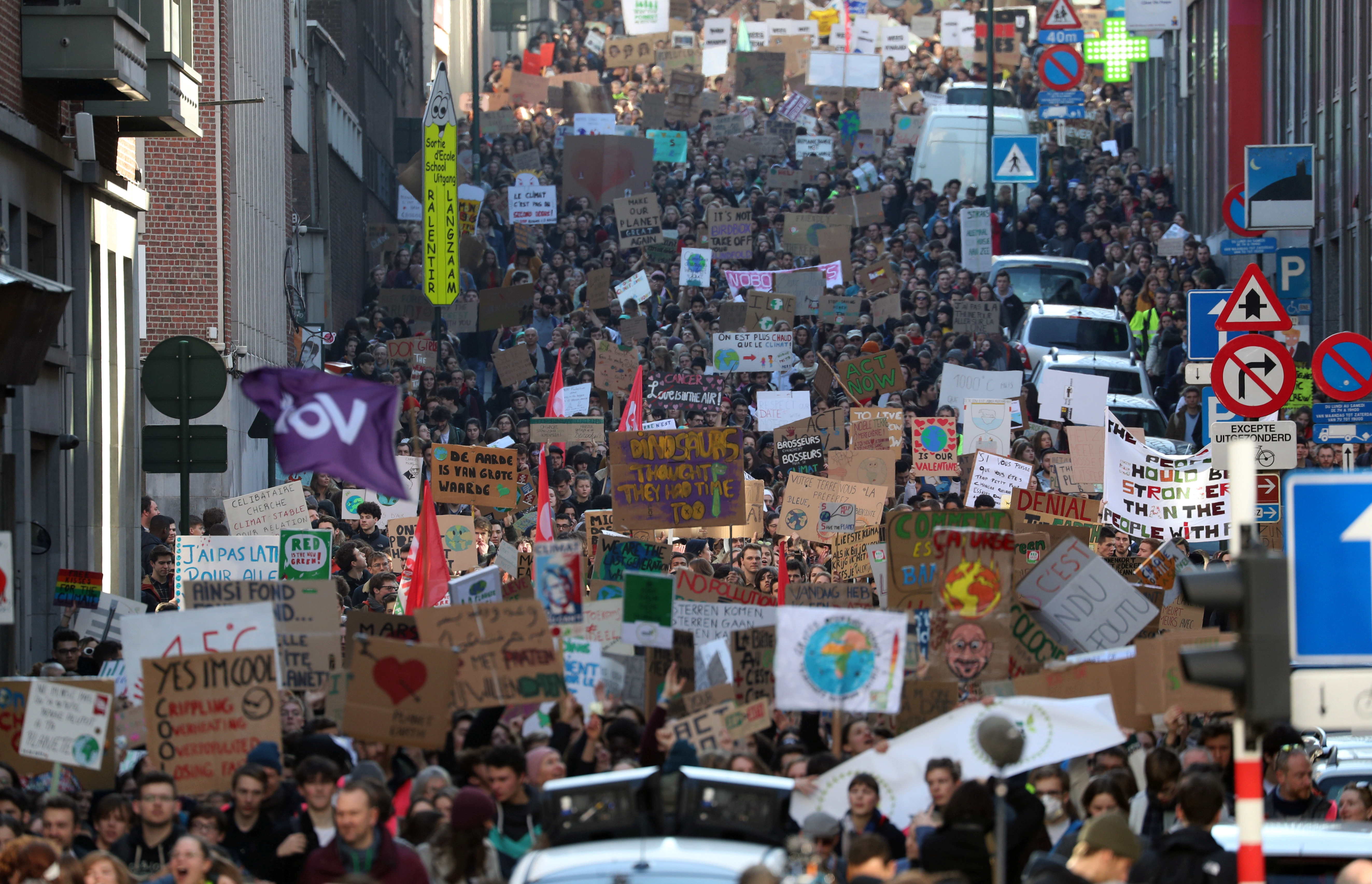 Belgian students claim for urgent measures to combat climate change during a demonstration in central Brussels