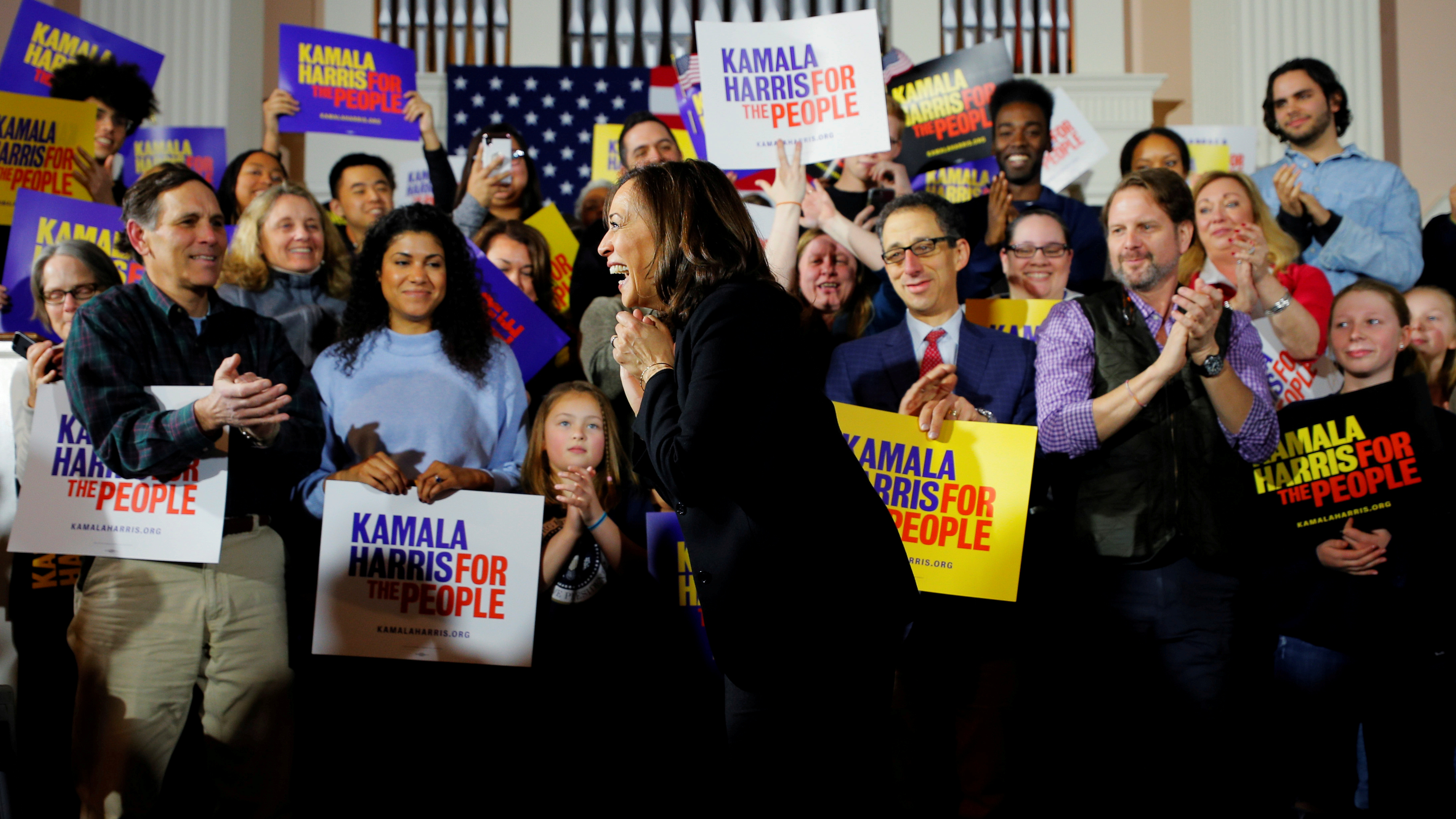 Democratic 2020 U.S. presidential candidate and U.S. Senator Kamala Harris takes the stage for a campaign town hall meeting in Portsmouth, New Hampshire, U.S., February 18, 2019. REUTERS/Brian Snyder