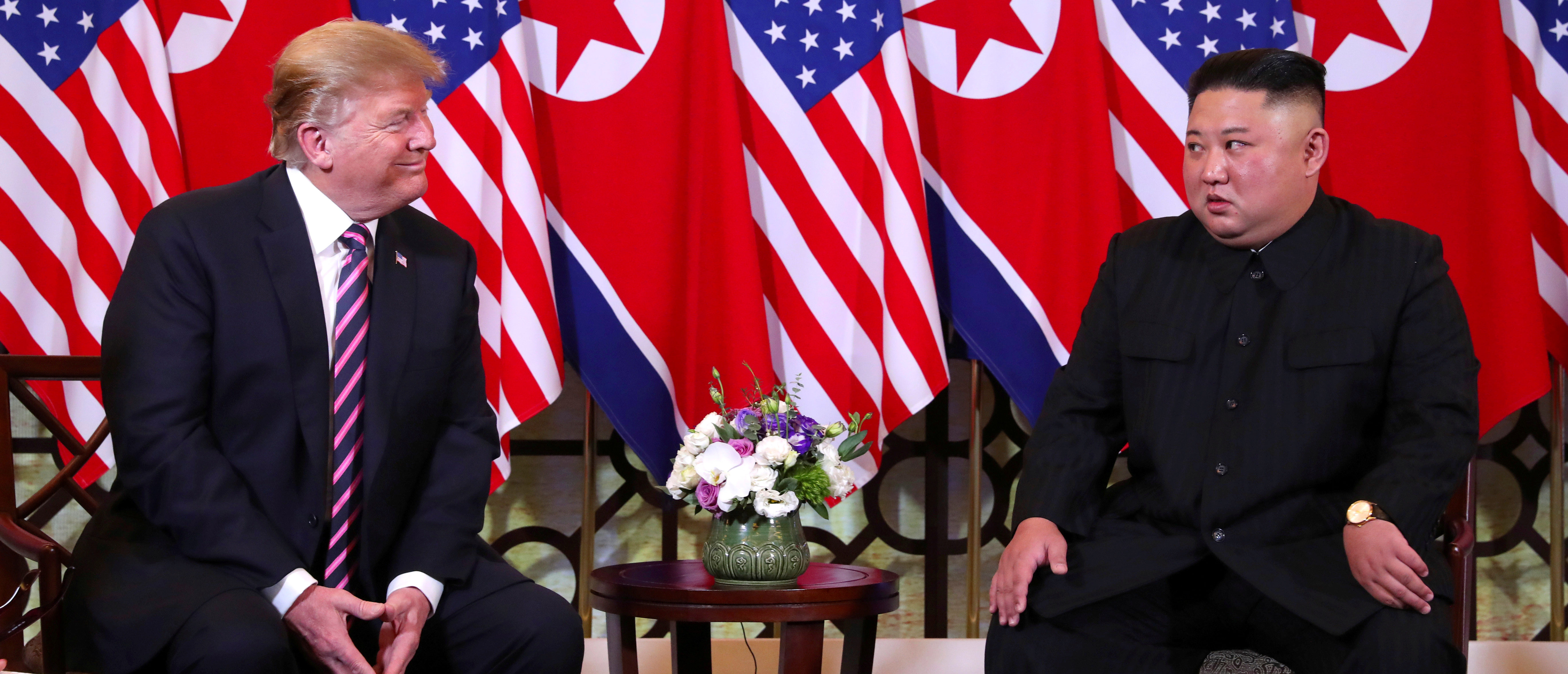 U.S. President Donald Trump and North Korean leader Kim Jong Un sit down before their one-on-one chat during the second U.S.-North Korea summit at the Metropole Hotel in Hanoi, Vietnam February 27, 2019. REUTERS/Leah Millis TPX