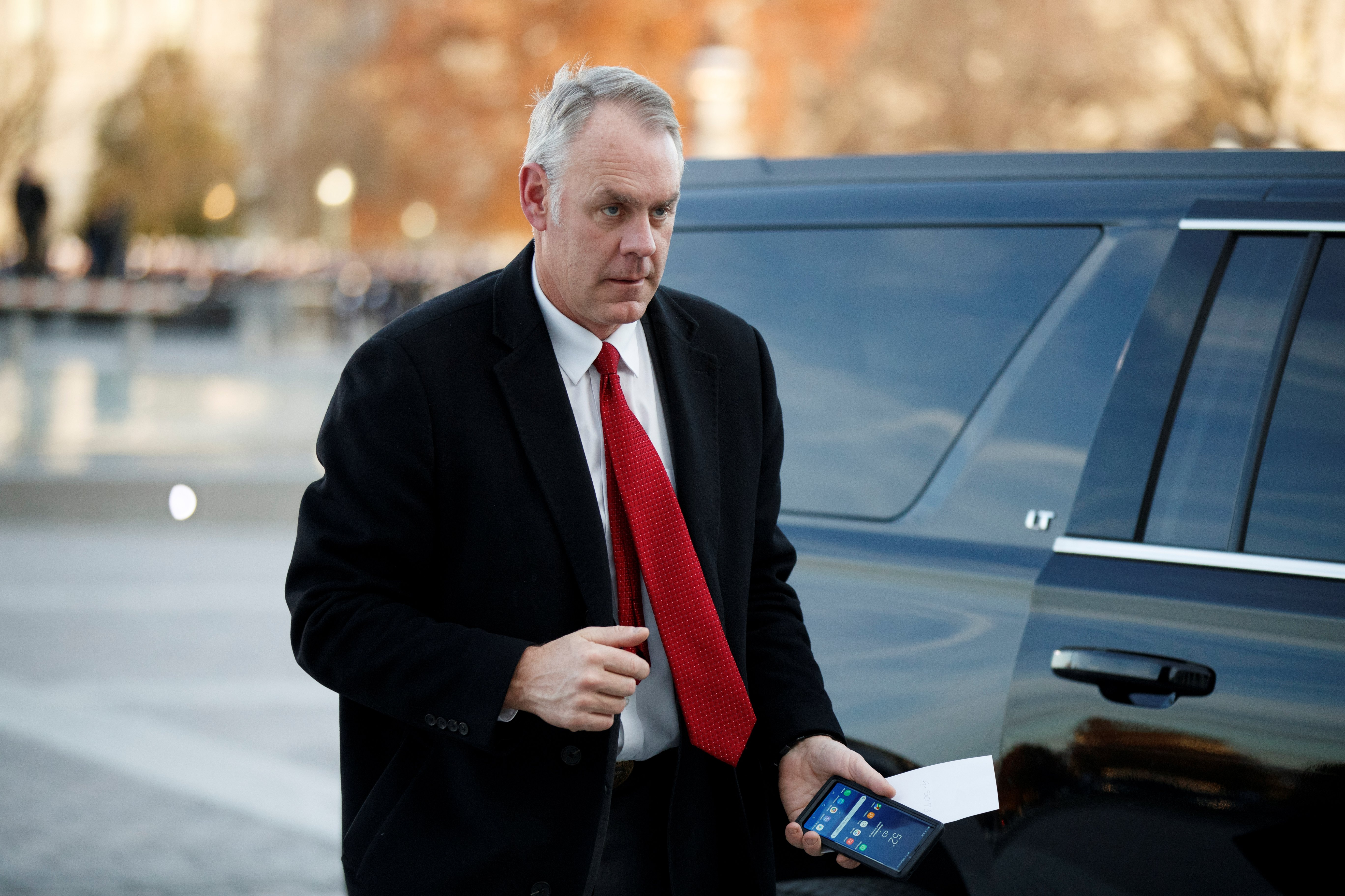 US Secretary of the Interior Ryan Zinke arrives at the US Capitol prior to the service for former President George H. W. Bush in Washington, DC, USA, 03 December 2018. Shawn Thew/Pool via REUTERS