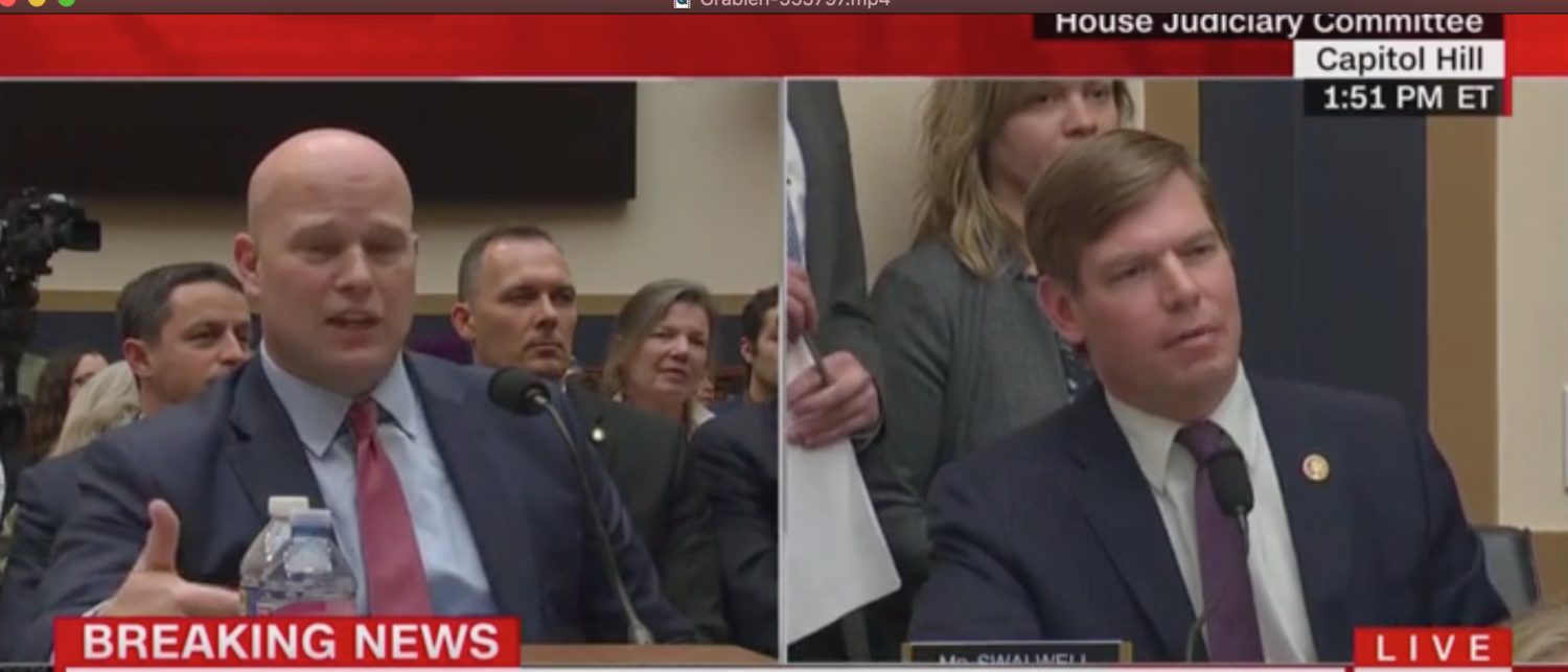 Acting AG Matthew Whitaker takes questions from Rep. Eric Swalwell. Screen Shot/CNN