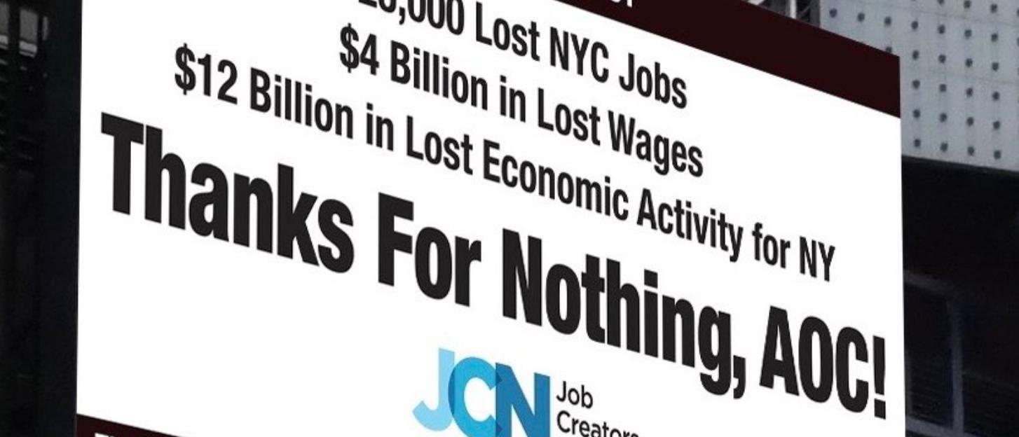 Job Creators Network Billboard appears in Times Square, NYC. Screen Shot/Twitter/@Ingrahamangle