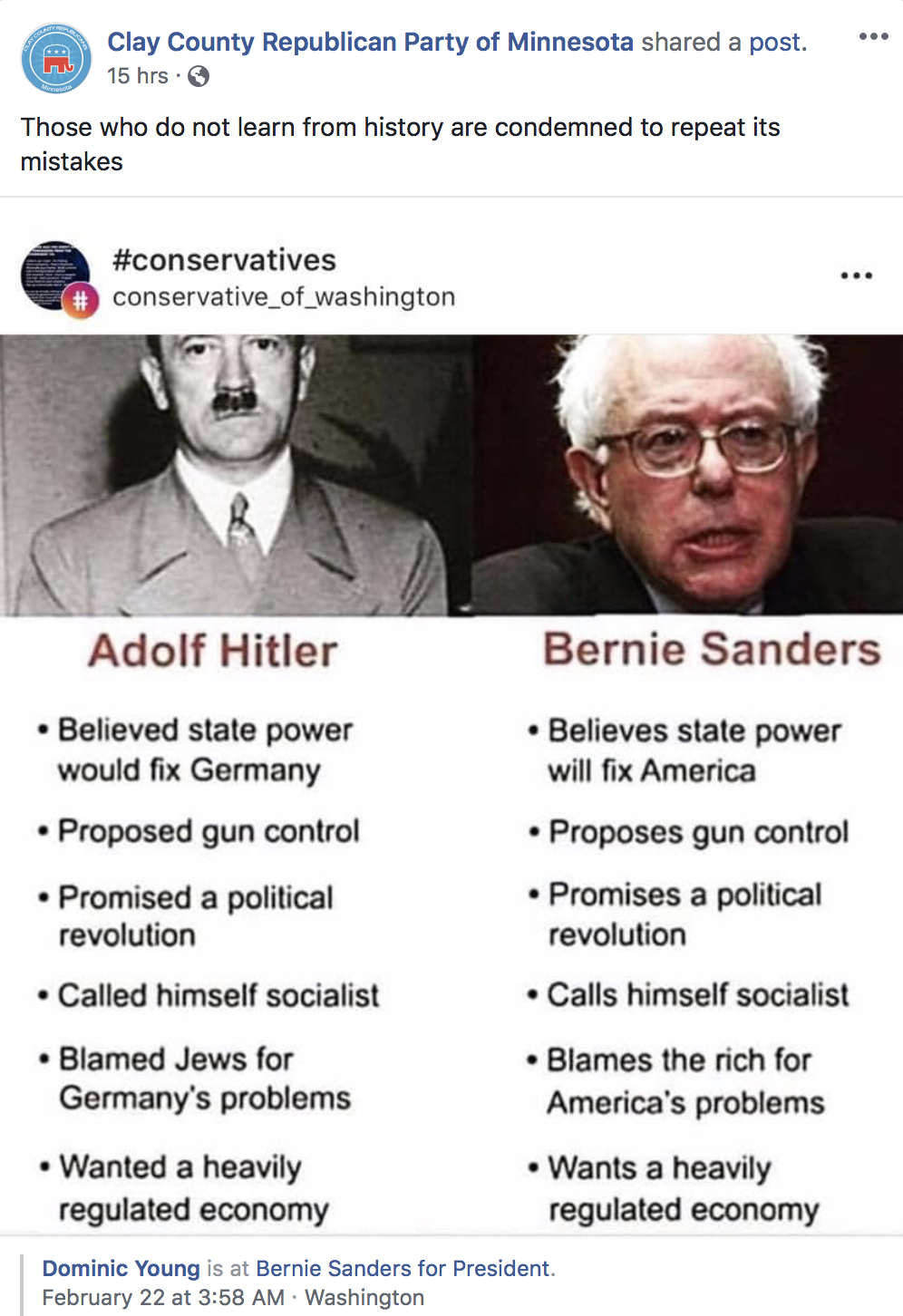 The Clay County Republican Party of Minnesota shared a post comparing Sen. Bernie Sanders to Hitler (2/25/2019)