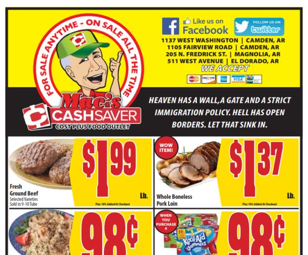 Screengrab Mac's Cashsaver public circular