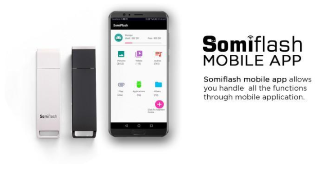 Easily access all of your files stored on the Somiflash through an app on your  iOS and Android devices,