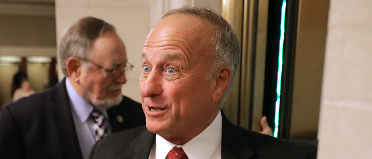 Rep. Steve King (R-IA) talks to reporters following leadership elections in the Longworth House Office Building on Capitol Hill November 14, 2018 in Washington, DC. (Photo by Chip Somodevilla/Getty Images)