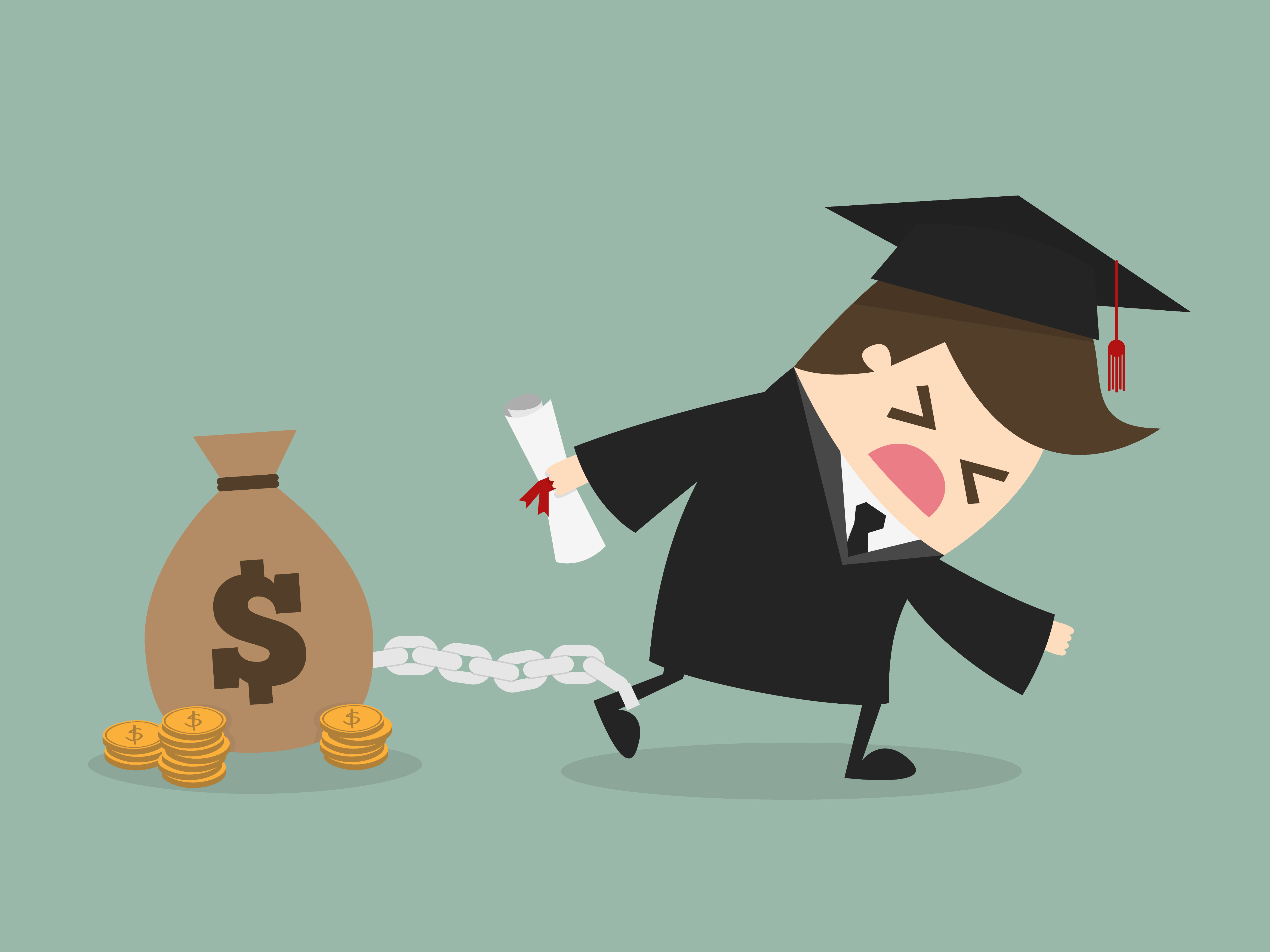 Pictured is the depiction of being chained to debt. SHUTTERSTOCK/ Dooder