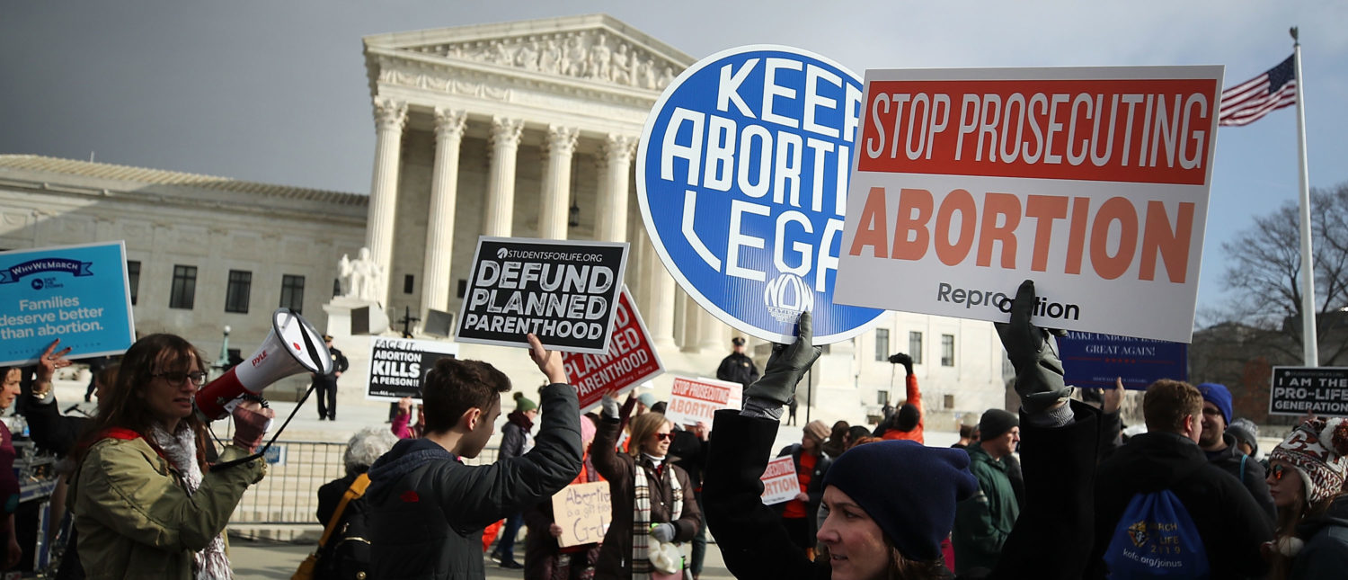 Protesters on both sides of the abortion issue gather in front of the U.S. Supreme Court building during the Right To Life March, on January 18, 2019. (Mark Wilson/Getty Images)