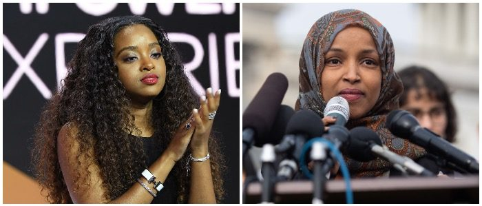 Tamika Mallory and Ilhan Omar (LEFT: Paras Griffin/Getty Images for Essence RIGHT: SAUL LOEB/AFP/Getty Images)