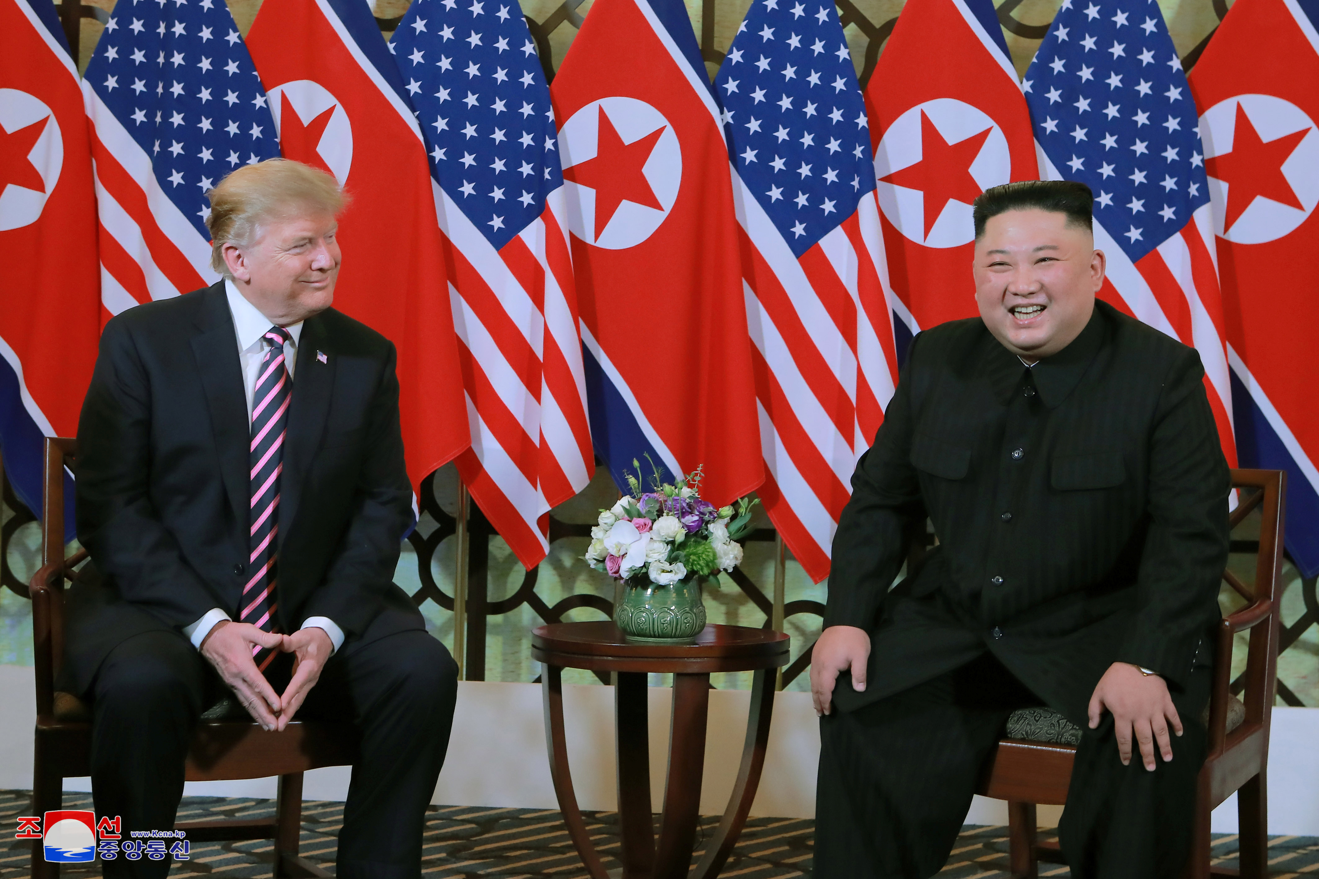 North Korea's leader Kim Jong Un and U.S. President Donald Trump meet during the second U.S.-North Korea summit in Hanoi