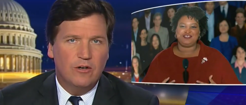 Tucker Carlson discusses Stacey Abrams and identity politics (Fox News screengrab)