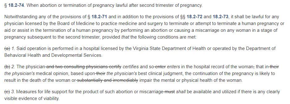 Virginia House Bill 2491, sponsored by Kathy Tran. (Screenshot/Virginia Legislative Information System)