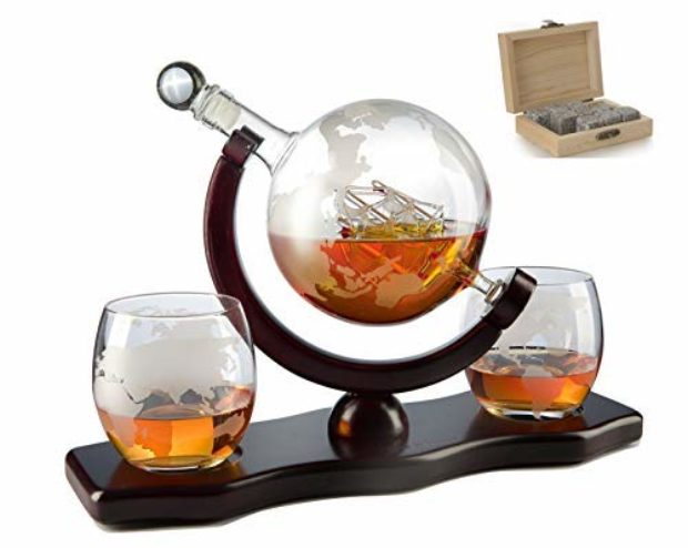 Normally $50, take 30 percent off this mahogany-stained globe-themed whiskey decanter set (Photo via Amazon)