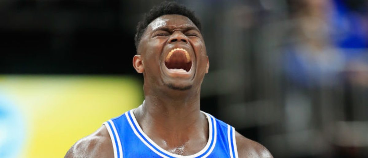 INDIANAPOLIS, IN - NOVEMBER 06: Zion Williamson #1 of the Duke Blue Devils celebrates against the Kentucky Wildcats during the State Farm Champions Classic at Bankers Life Fieldhouse on November 6, 2018 in Indianapolis, Indiana. (Photo by Andy Lyons/Getty Images)