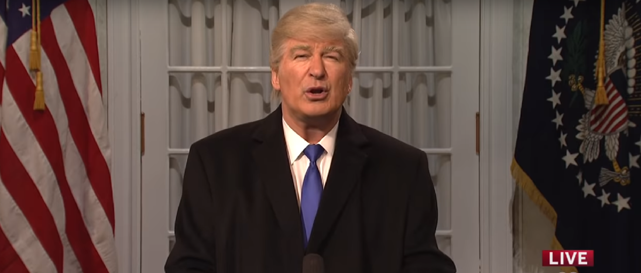 Alec Baldwin Trump SNl Rose Garden Screenshot from Saturday Night Live YouTube channel https://www.youtube.com/watch?v=8vQlhWBvAwY