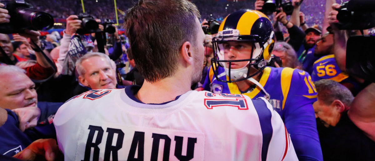 ATLANTA, GA - FEBRUARY 03: Tom Brady #12 of the New England Patriots hugs Jared Goff #16 of the Los Angeles Rams after the Patriots defeat the Rams 13-3 during Super Bowl LIII at Mercedes-Benz Stadium on February 3, 2019 in Atlanta, Georgia. (Photo by Kevin C. Cox/Getty Images)