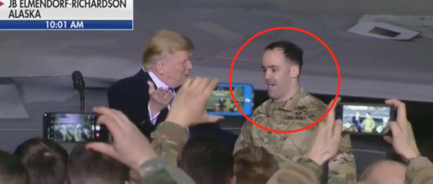 President Trump greets Bronze Star recipient SGT Sean Rogers at JBER. Screen shot/Fox News