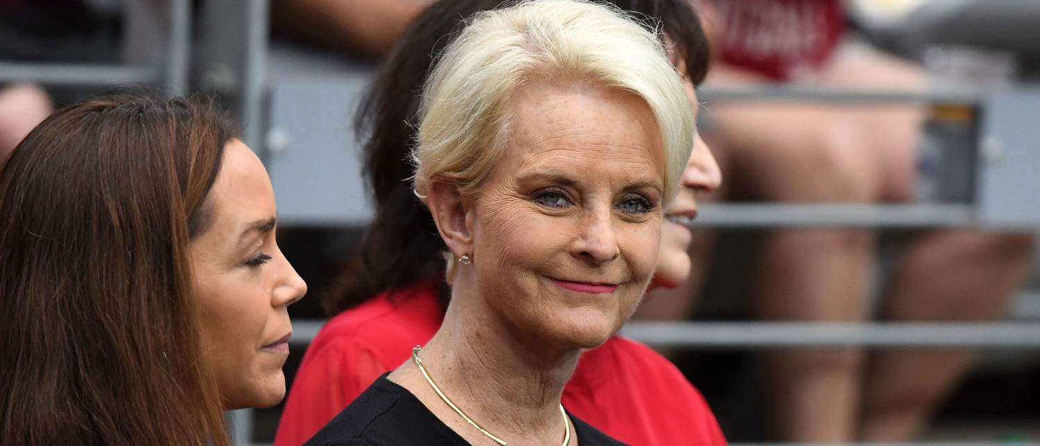 Cindy McCain, wife of the late U.S. Senator John McCain stands on the sidelines before the game between the Arizona Cardinals and the Washington Redskins at State Farm Stadium on September 9, 2018 in Glendale, Arizona. Norm Hall/Getty Images
