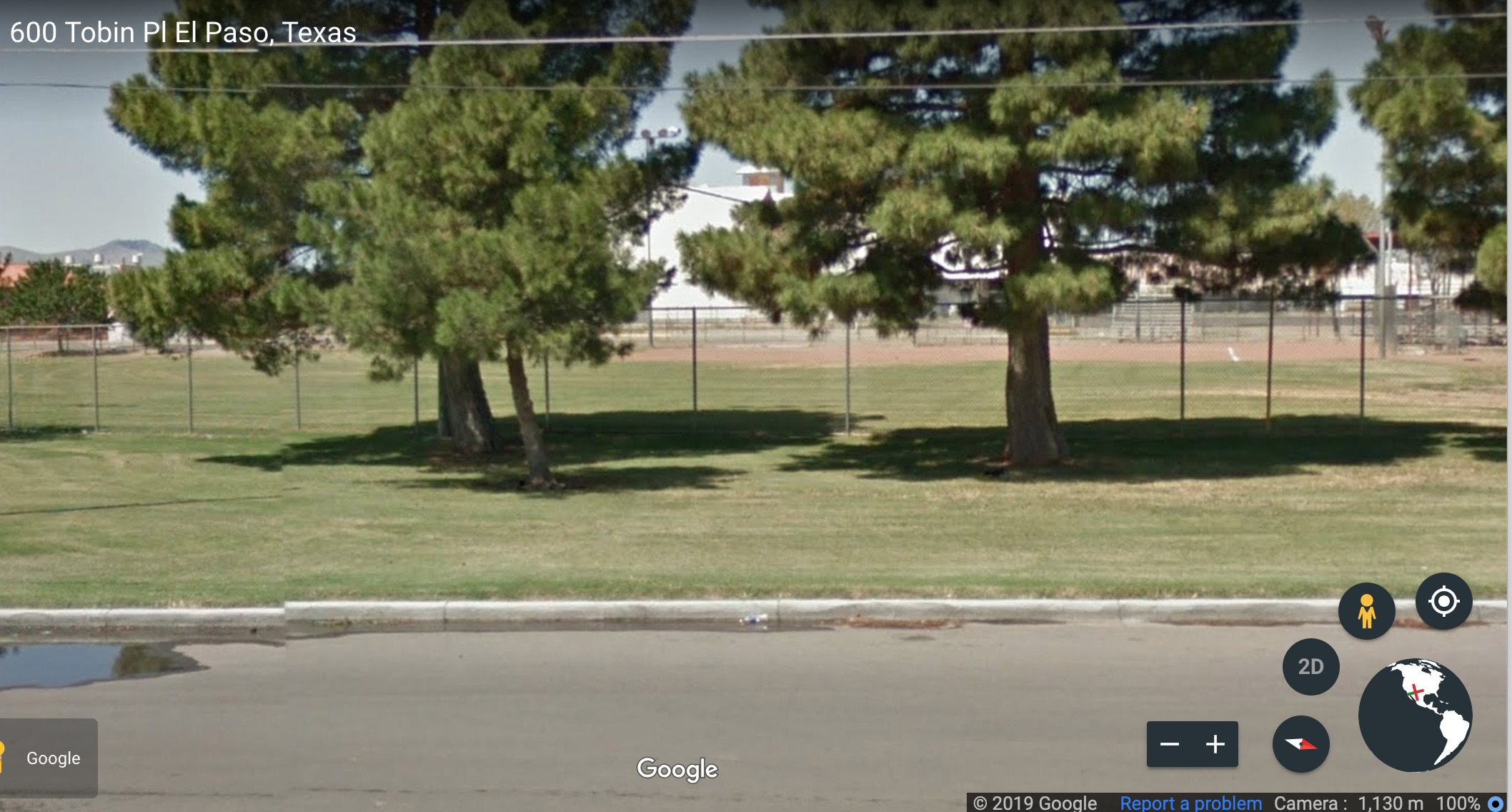 Fencing around the Chili Acosta Park, El Paso, Texas. Screen Shot/Google Earth