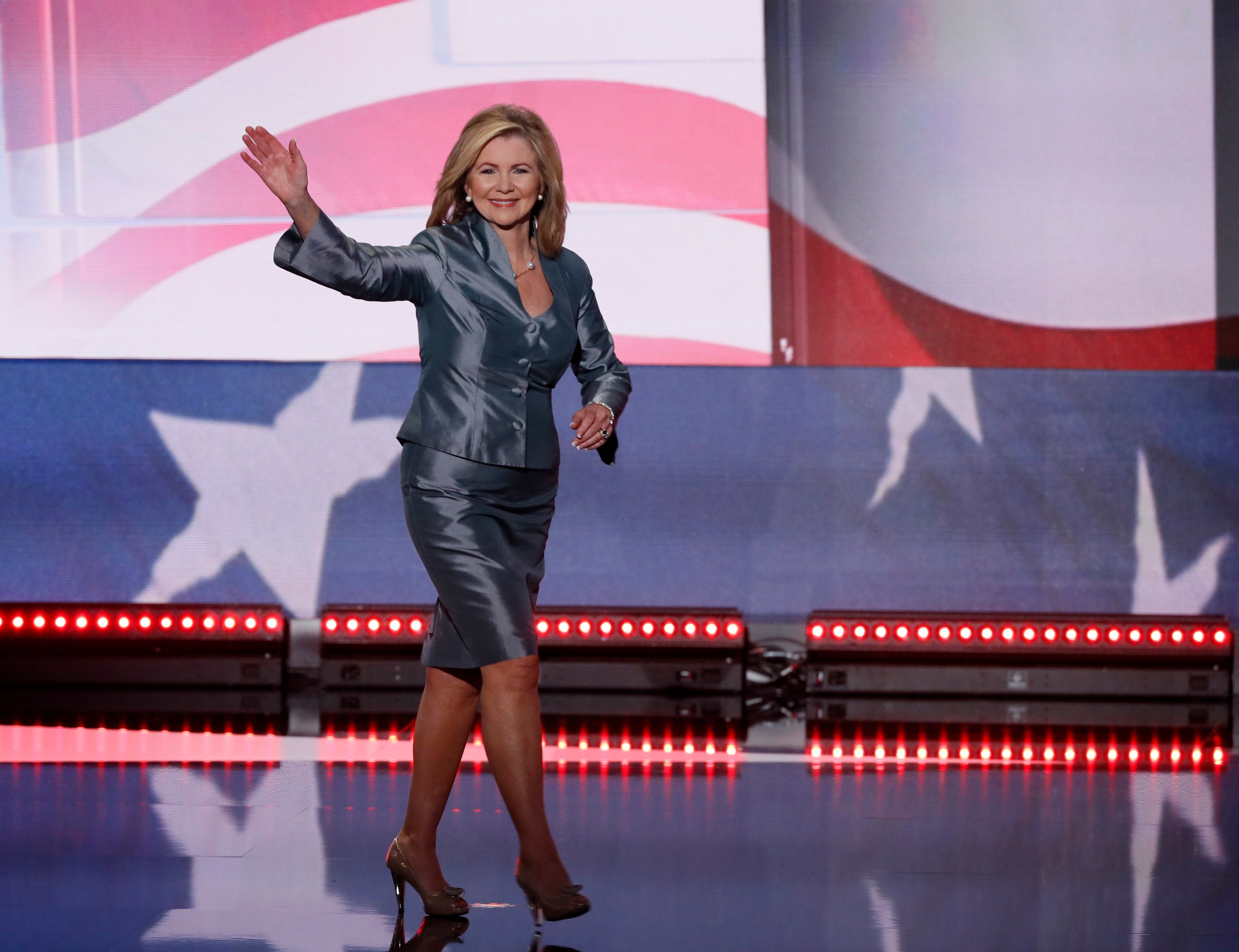 Representative Marsha Blackburn (R-TN) takes the stage to speak during the final day of the Republican National Convention in Cleveland, Ohio, U.S. July 21, 2016. REUTERS/Mike Segar