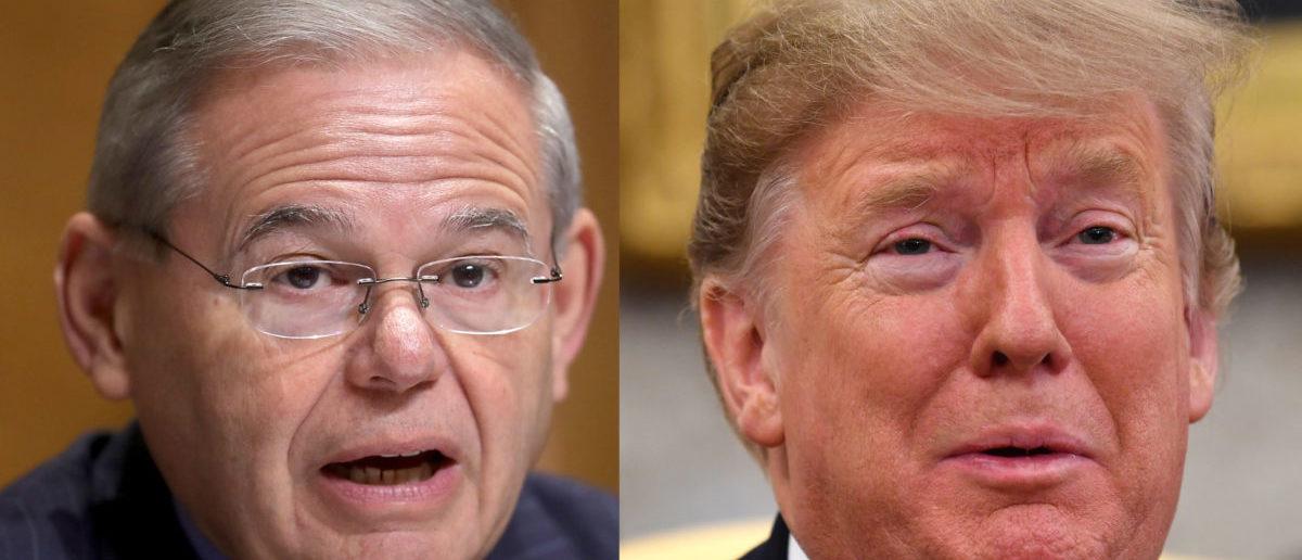 Left: Sen. Bob Mendendez Right: President Donald Trump (Right:NICHOLAS KAMM/AFP/Getty Images. Left: Chip Somodevilla/Getty Images)