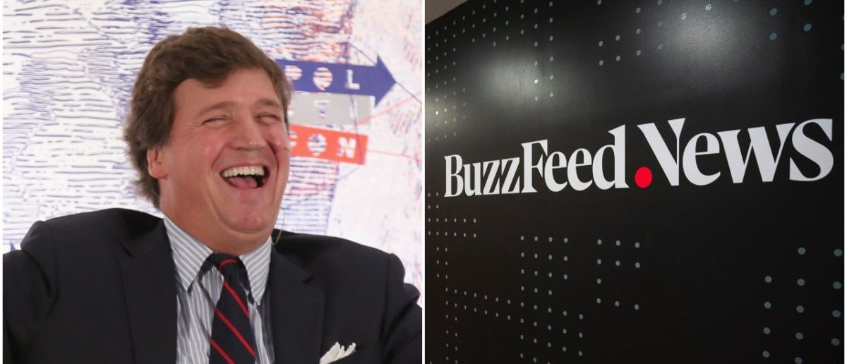 Left: Tucker Carlson, Right: BuzzFeed News (Getty Images)