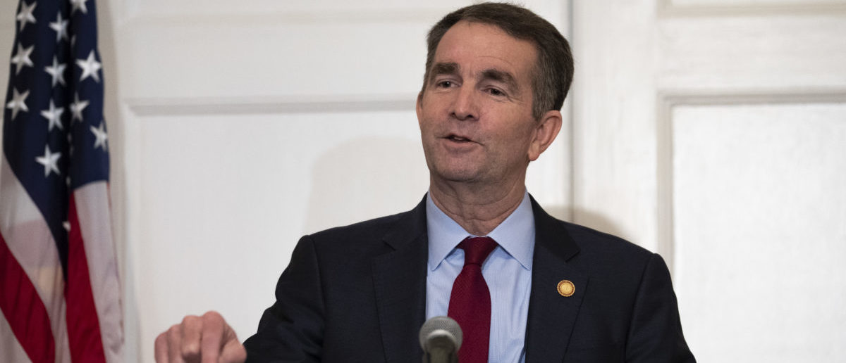 Virginia Governor Ralph Northam speaks with reporters at a press conference at the Governor's mansion on February 2, 2019 in Richmond, Virginia. (Photo by Alex Edelman/Getty Images)