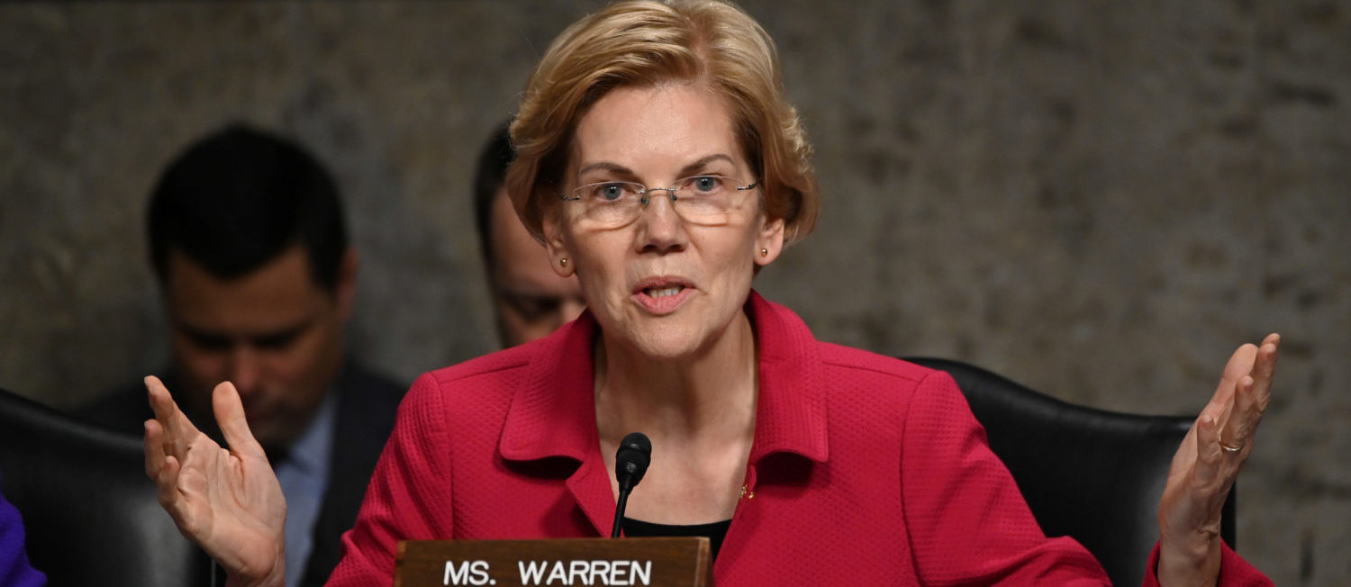 Senator Elizabeth Warren (D-MA) questions panelists testifying before Senate Armed Services subcommittees on the Military Housing Privatization Initiative in Washington, U.S. February 13, 2019. REUTERS/Erin Scott