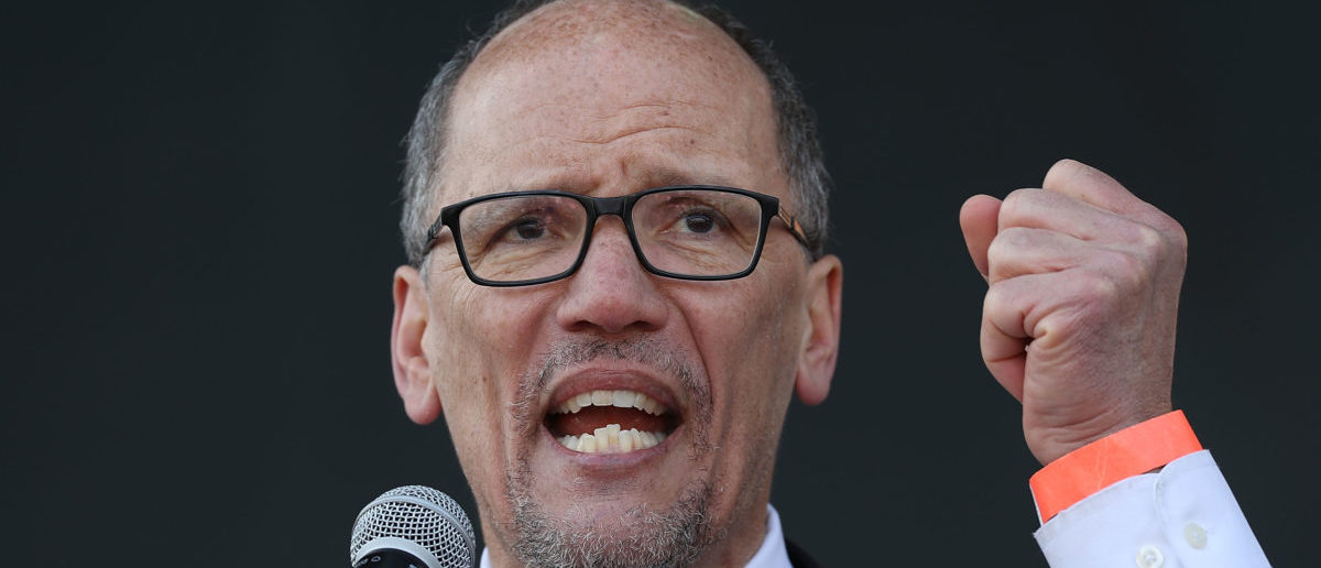 Tom Perez, chairman of the Democratic National Committee, speaks as people gather during an event to mark the 50th anniversary of Dr. Martin Luther King Jr.'s assassination April 4, 2018 in Memphis, Tennessee. (Photo by Joe Raedle/Getty Images)