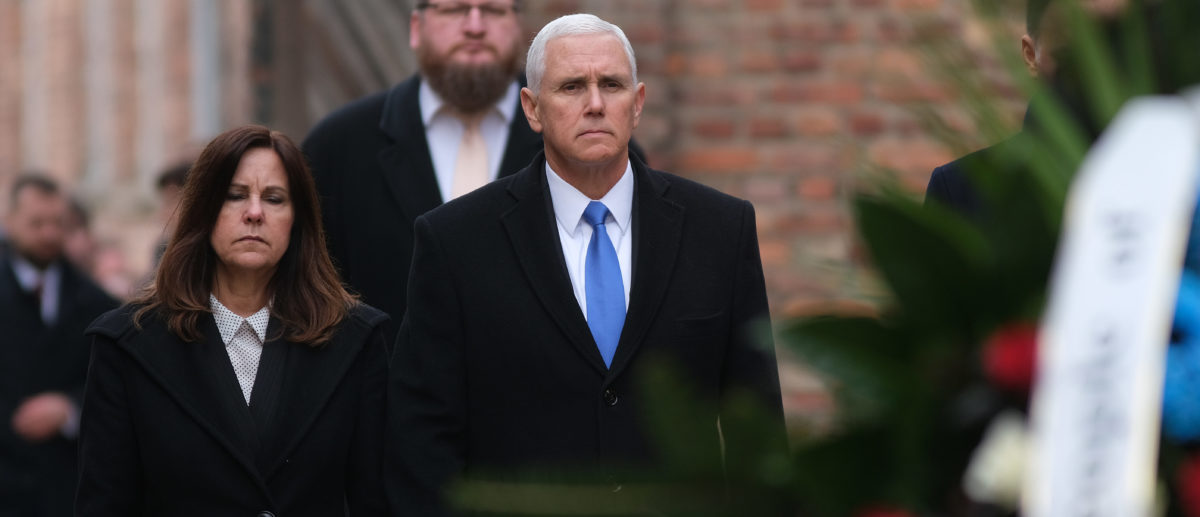 OSWIECIM, POLAND - FEBRUARY 15: U.S. Vice President Mike Pence and Second Lady Karen Pence visit the Auschwitz concentration camp memorial on February 15, 2019 in Oswiecim, Poland. Pence is in Auschwitz following his participation in the recent Ministerial to Promote a Future of Peace and Security in the Middle East that took place in Warsaw. Auschwitz was among the most notorious of the Nazi concentration camps and was used by the Nazis to murder Jews on a mass scale. (Photo by Sean Gallup/Getty Images)