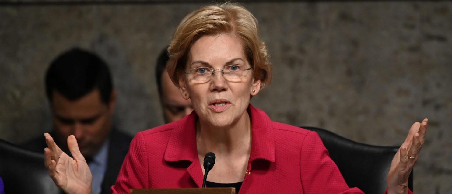 Senator Elizabeth Warren (D-MA) questions panelists testifying before Senate Armed Services subcommittees on the Military Housing Privatization Initiative in Washington, U.S. February 13, 2019. REUTERS/Erin Scott