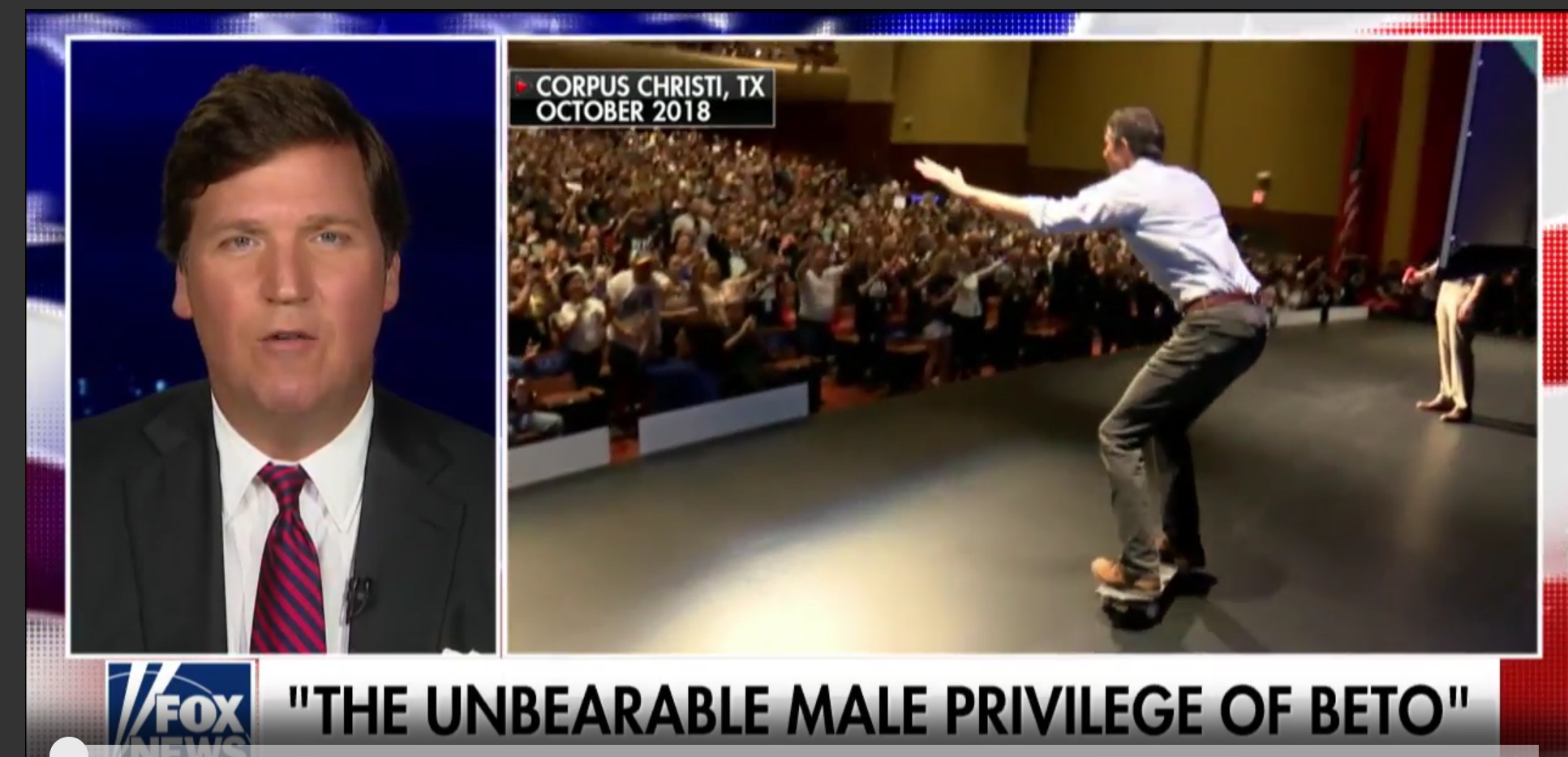 Beto O'Rourke demonstrates his prowess at skateboarding. Clip shown on Tucker Carlson Tonight, March 15, 2019. Fox News screenshot.