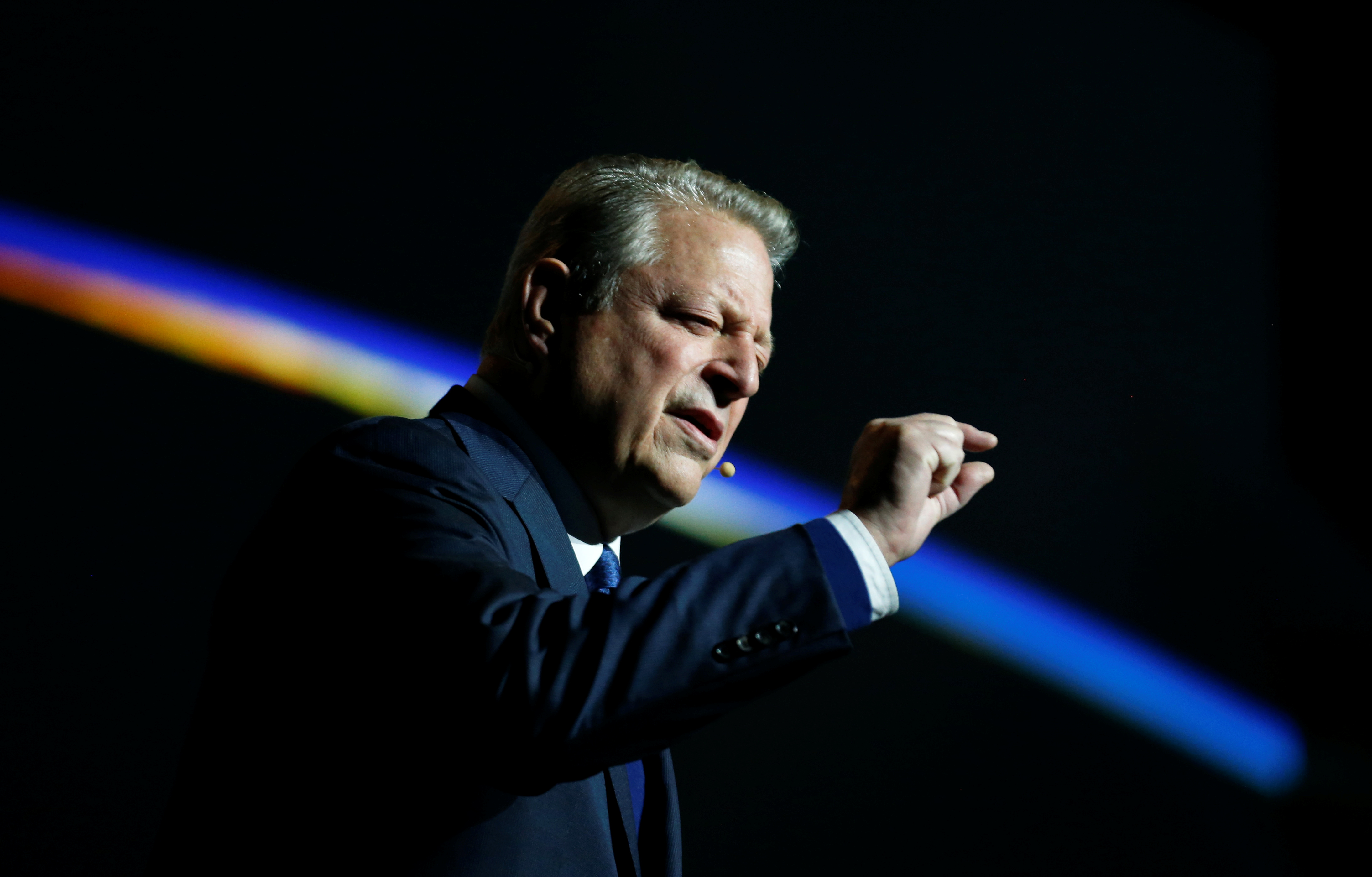 Al Gore, former U.S. Vice President and Climate Reality Project Chairman, gestures as he speaks at the COP24 UN Climate Change Conference 2018 in Katowice, Poland December 12, 2018. Agencja Gazeta/Grzegorz Celejewski/via REUTERS