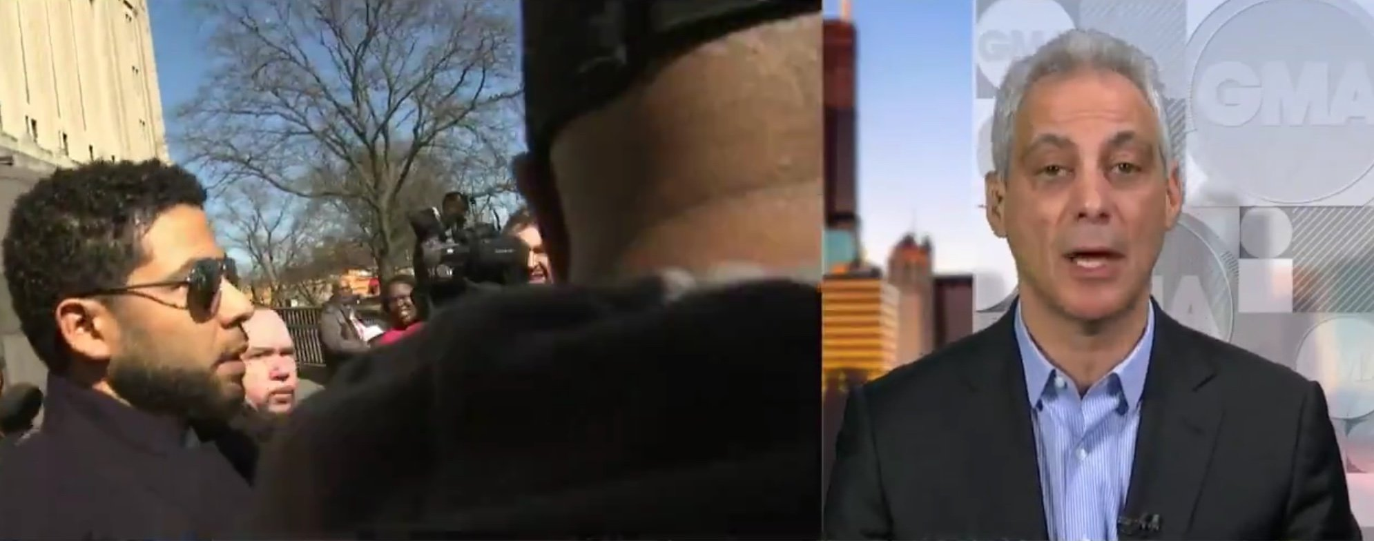 "Chicago Mayor Rahm Emanuel talks to ""Good Morning America"" about the Jussie Smollett decision, March 27, 2019. ABC News screencapture via Twitter."