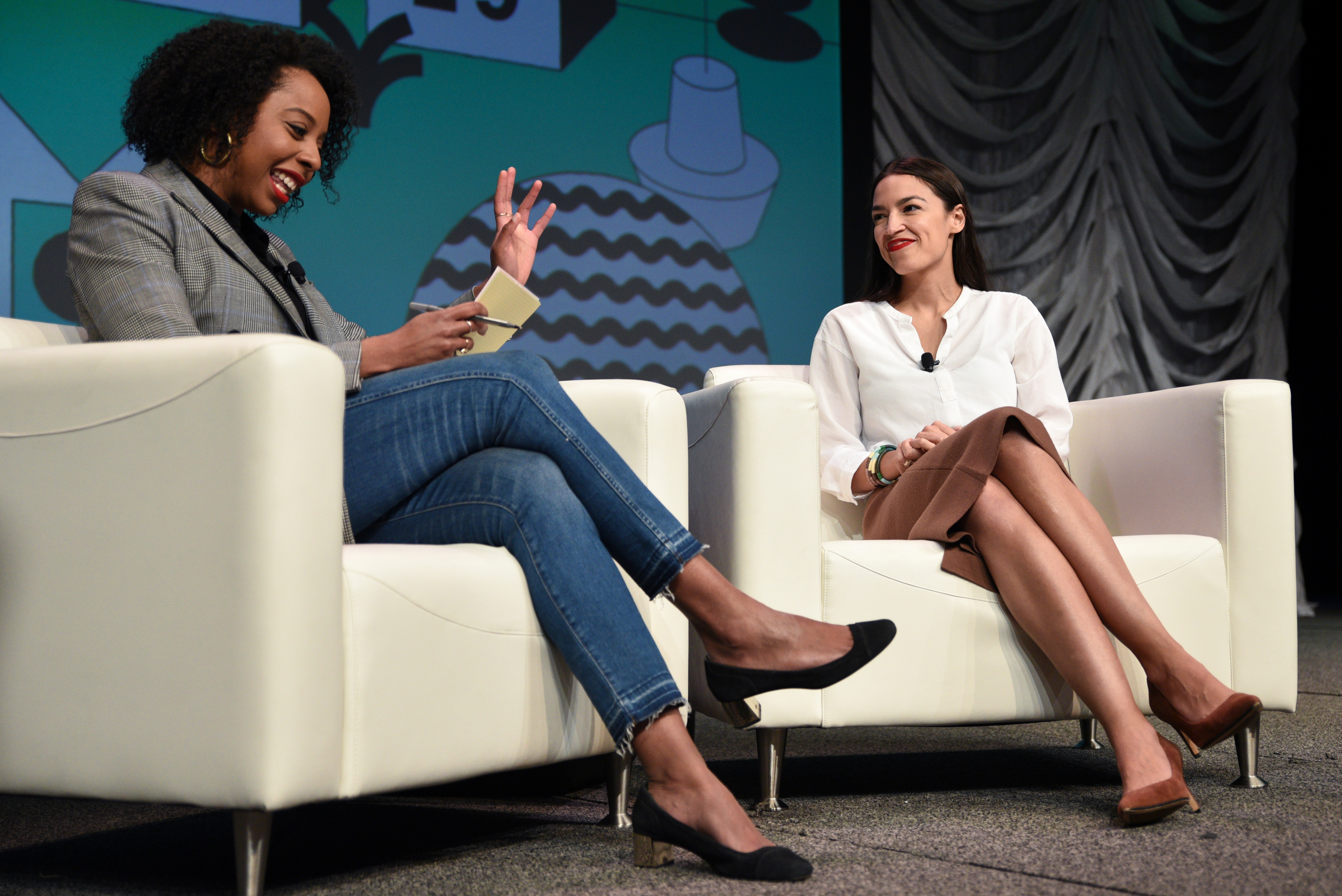U.S. Congresswoman Alexandria Ocasio-Cortez speaks about the first few months of her tenure in congress with Briahna Gray at the South by Southwest (SXSW) conference and festivals in Austin, Texas, U.S., March 9, 2019. REUTERS/Sergio Flores