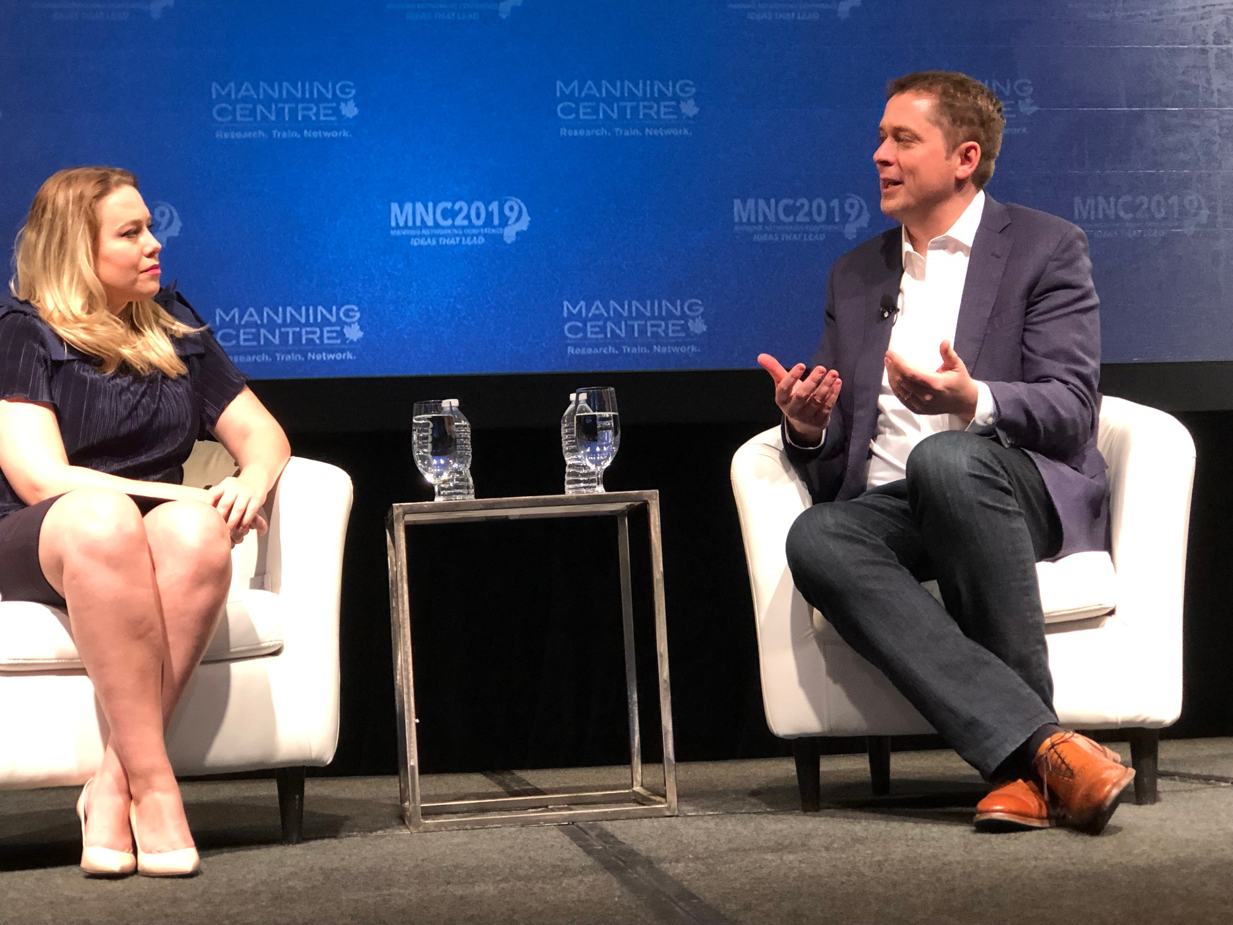 Conservative Party of Canada Leader Andrew Scheer discusses Canadian politics with CTV News anchor Mercedes Stephenson at the Manning Networking Conference in Ottawa, Canada on March 23, 2019. Daily Caller photo by Janet Krayden.