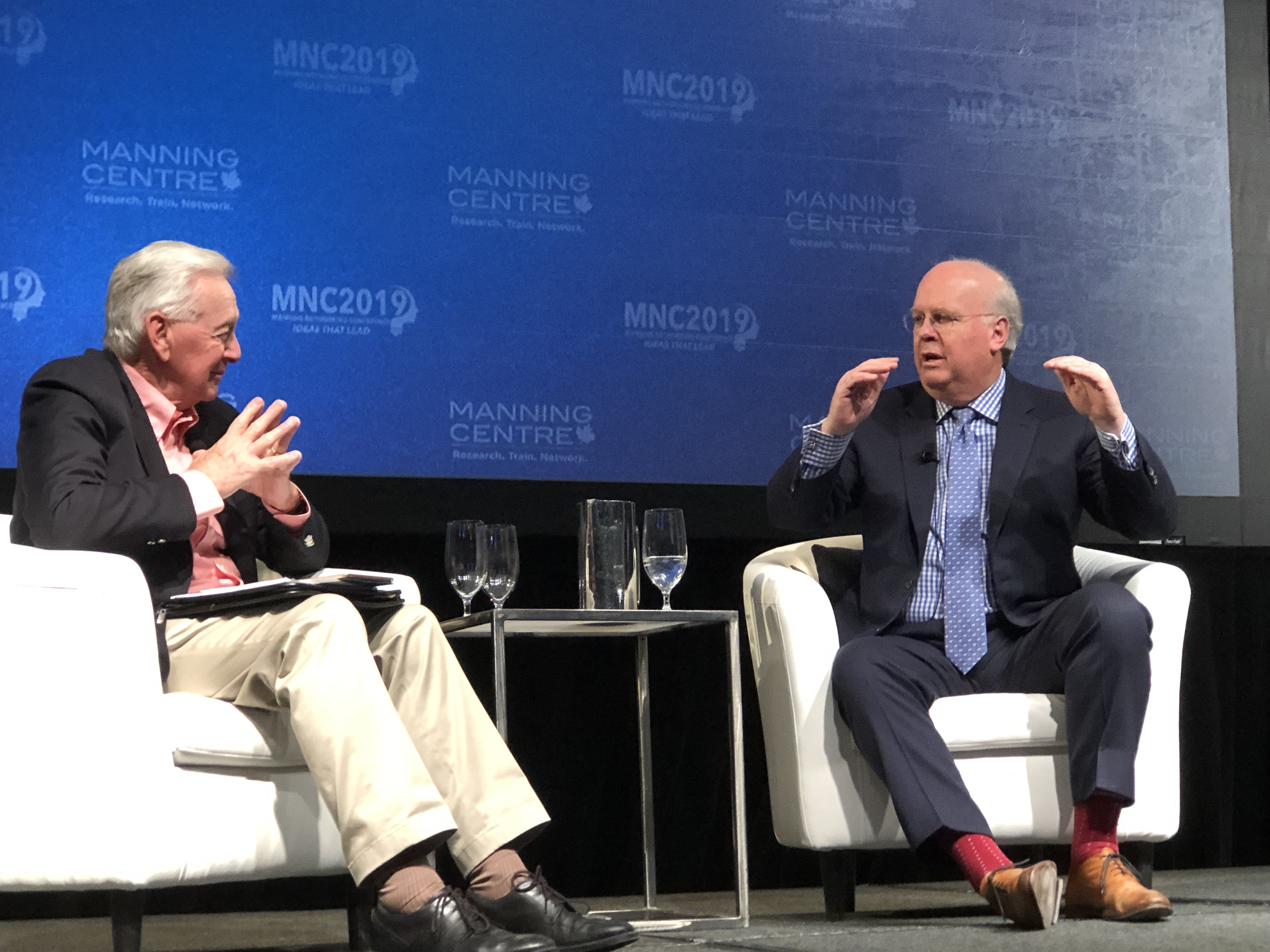 Karl Rove answers questions from the crowd at the Manning Networking Conference in Ottawa, Canada on March 22, 2019. Dailiy Caller photo by Janet Krayden