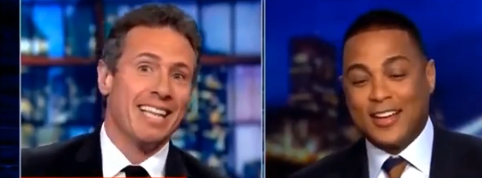 "CNN evening hosts Chris Cuomo and Don Lemon offer an impromptu duet of the ""All in the Family"" theme song, March 12, 2019. YouTube screenshot."