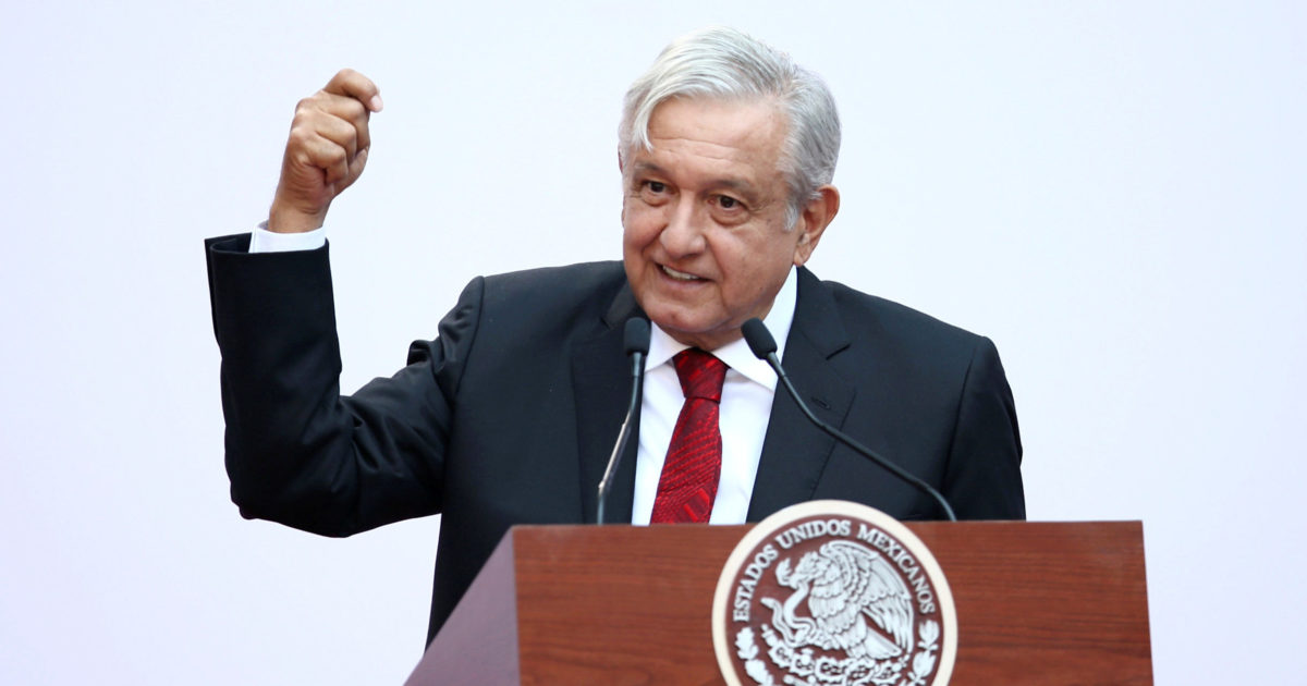 Mexico's President Andres Manuel Lopez Obrador gives a speech marking the first 100 days of his presidency at the National Palace in Mexico City, Mexico March 11, 2019. REUTERS/Edgard Garrido